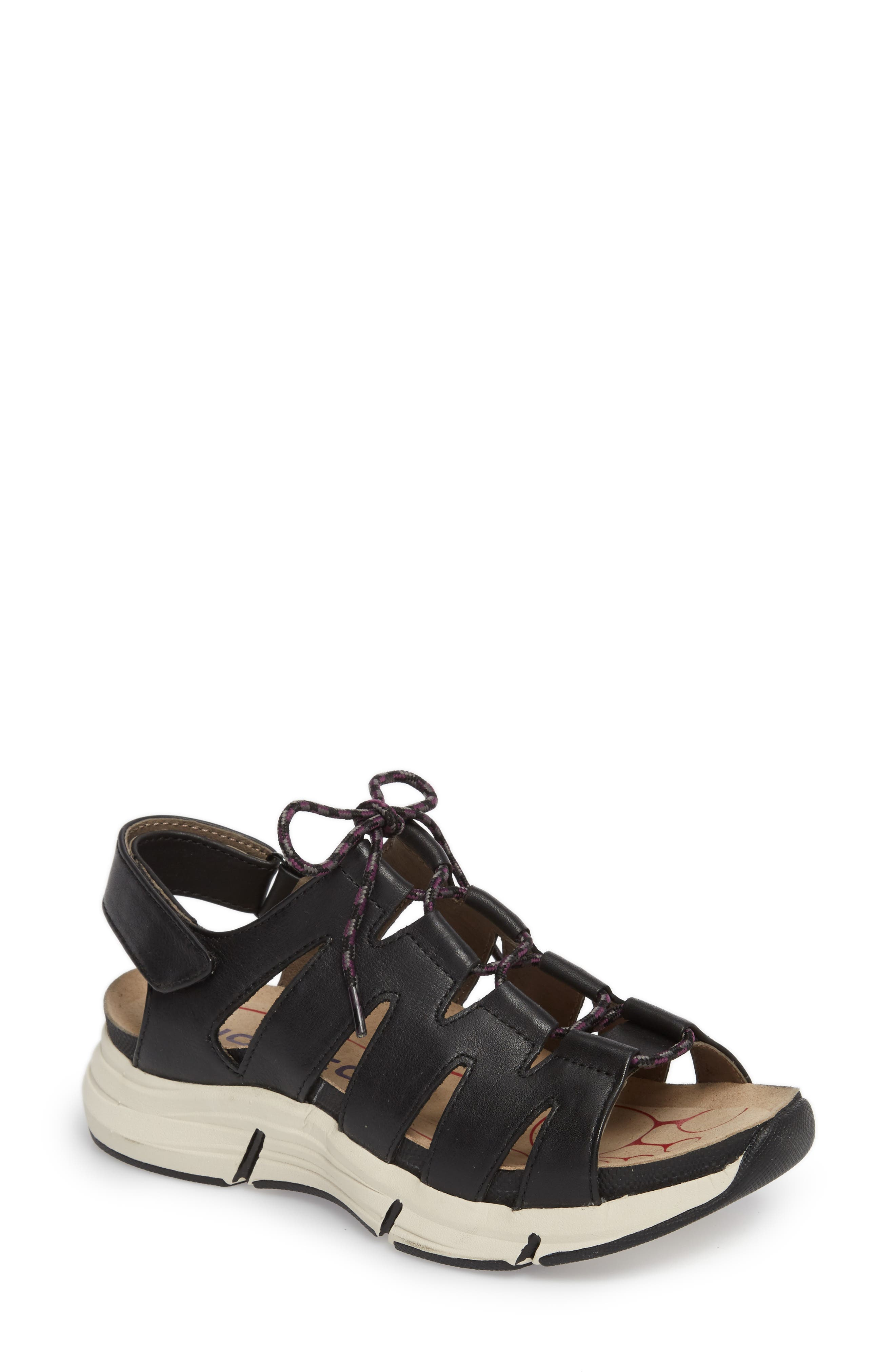BIONICA Olanda Ghillie Slingback Sandal, Main, color, BLACK LEATHER