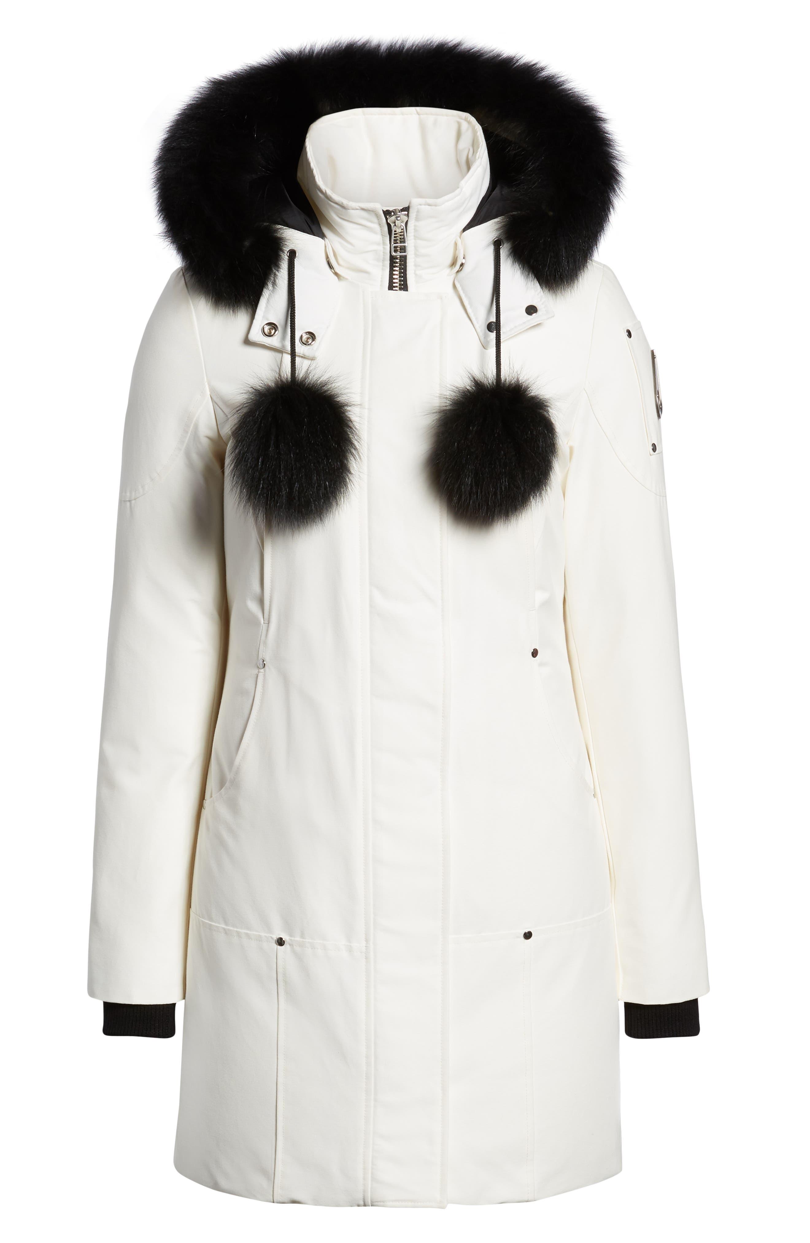 'Stirling' Down Parka with Genuine Fox Fur Trim,                             Alternate thumbnail 6, color,                             SNOW WHITE/ BLACK FOX