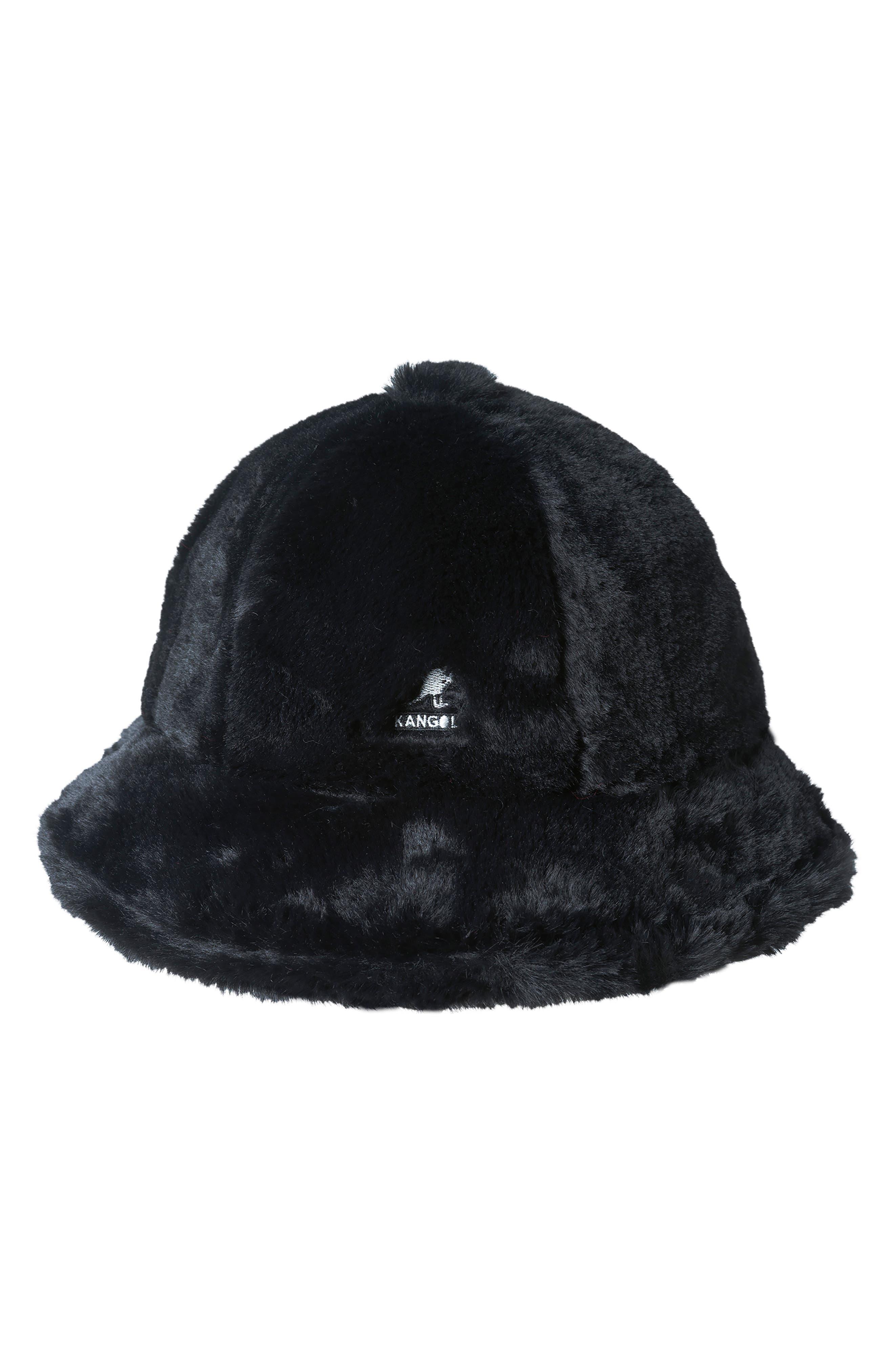 KANGOL Faux Fur Casual Bucket Hat - Black