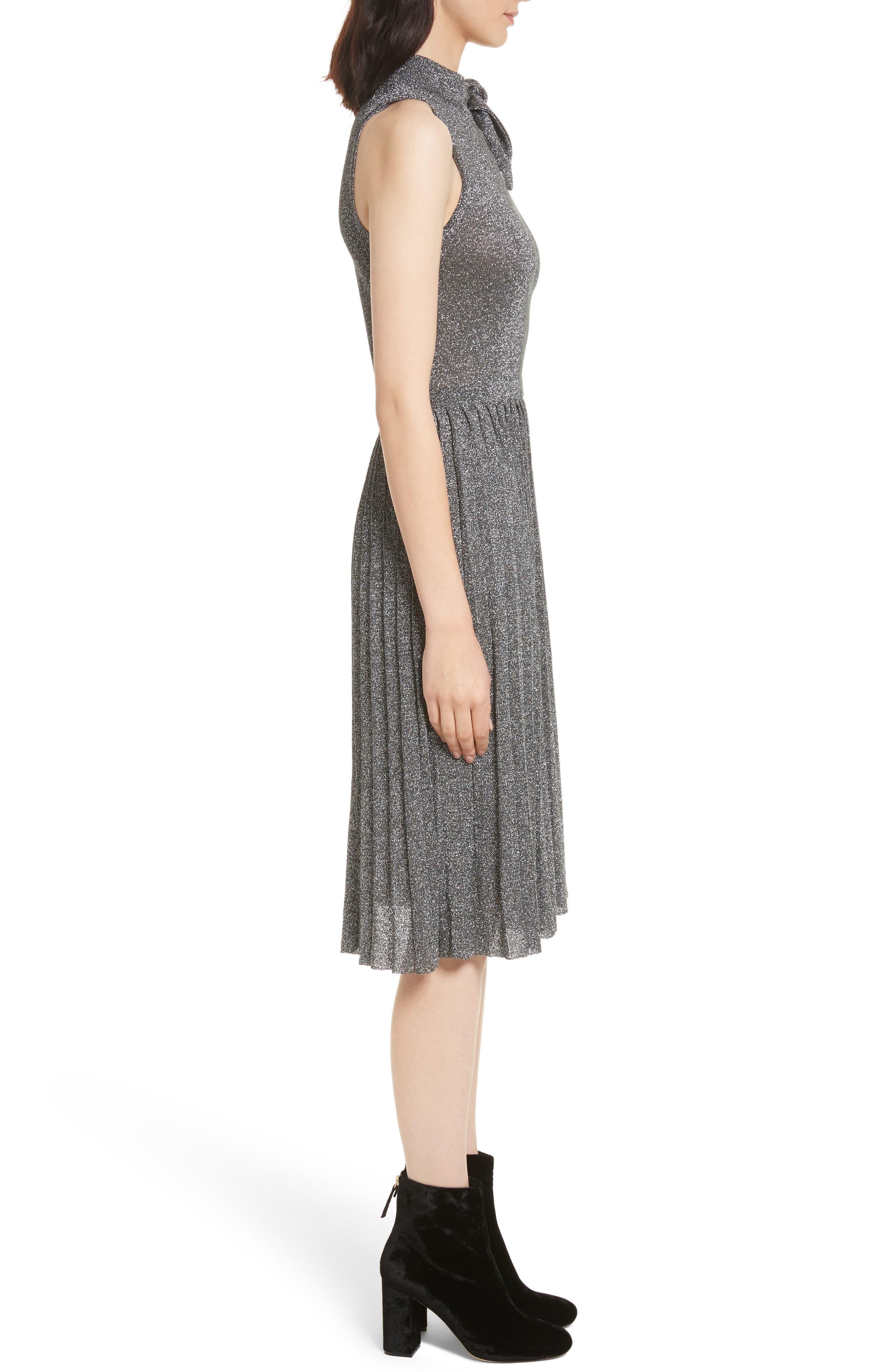 metallic knot sweater dress,                             Alternate thumbnail 3, color,