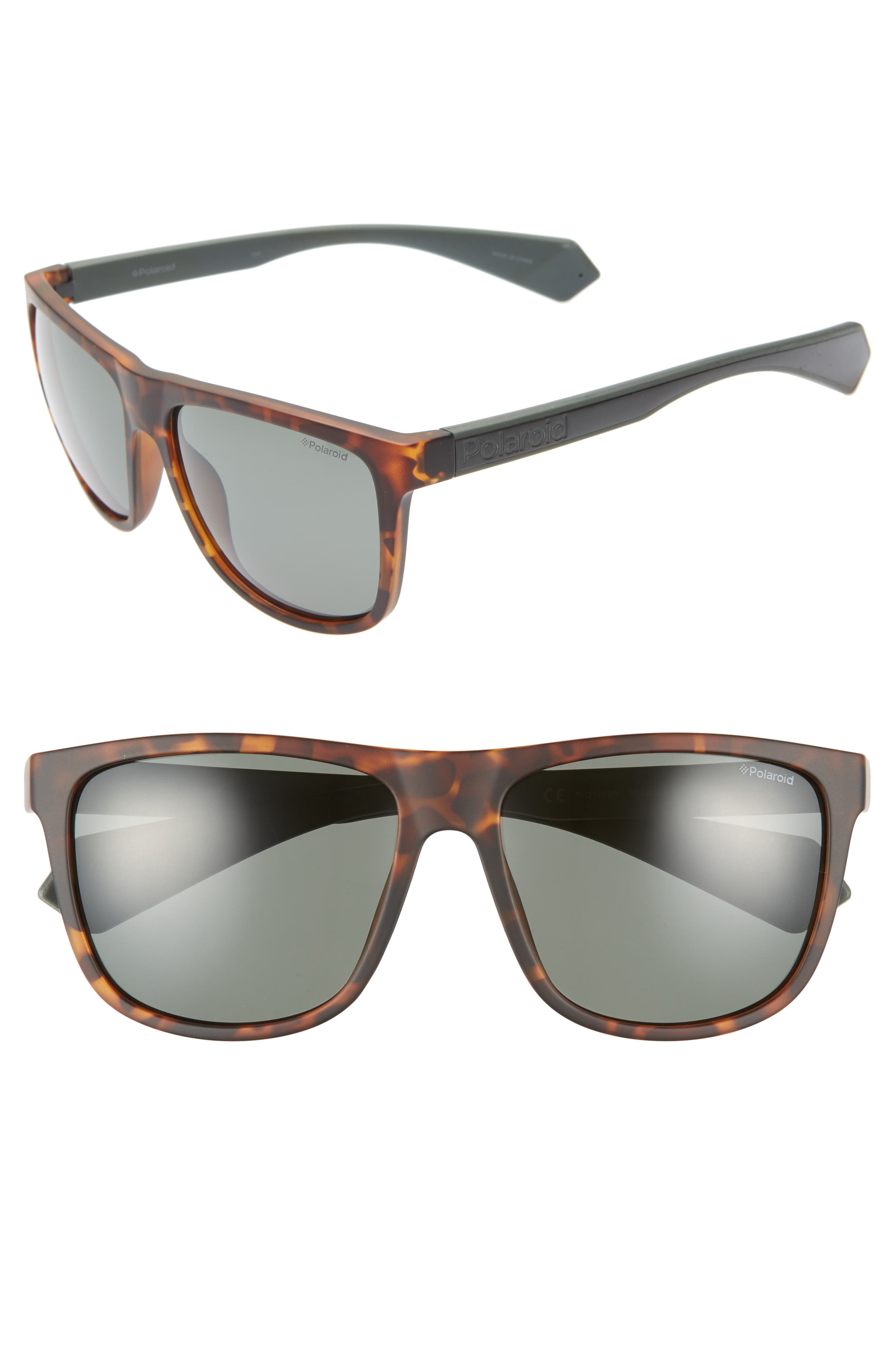 POLAROID Plastic Core 57Mm Polarized Sunglasses - Havana