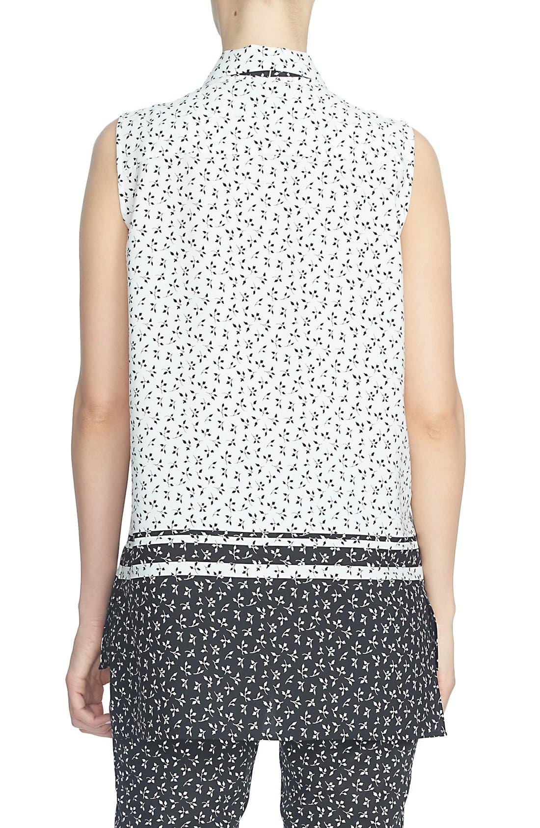 'Ditsy Leaf' Sleeveless Tie Neck Blouse,                             Alternate thumbnail 3, color,                             006