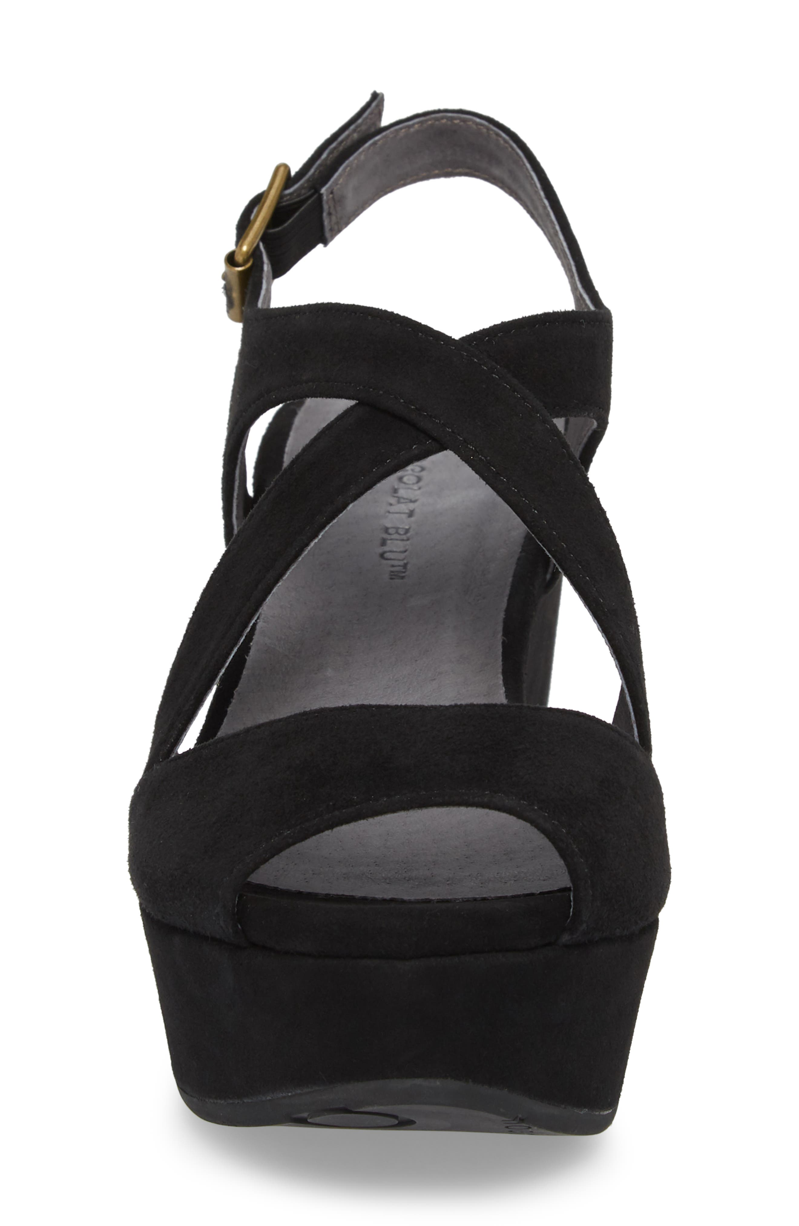 Winnie Wedge Sandal,                             Alternate thumbnail 4, color,                             BLACK SUEDE