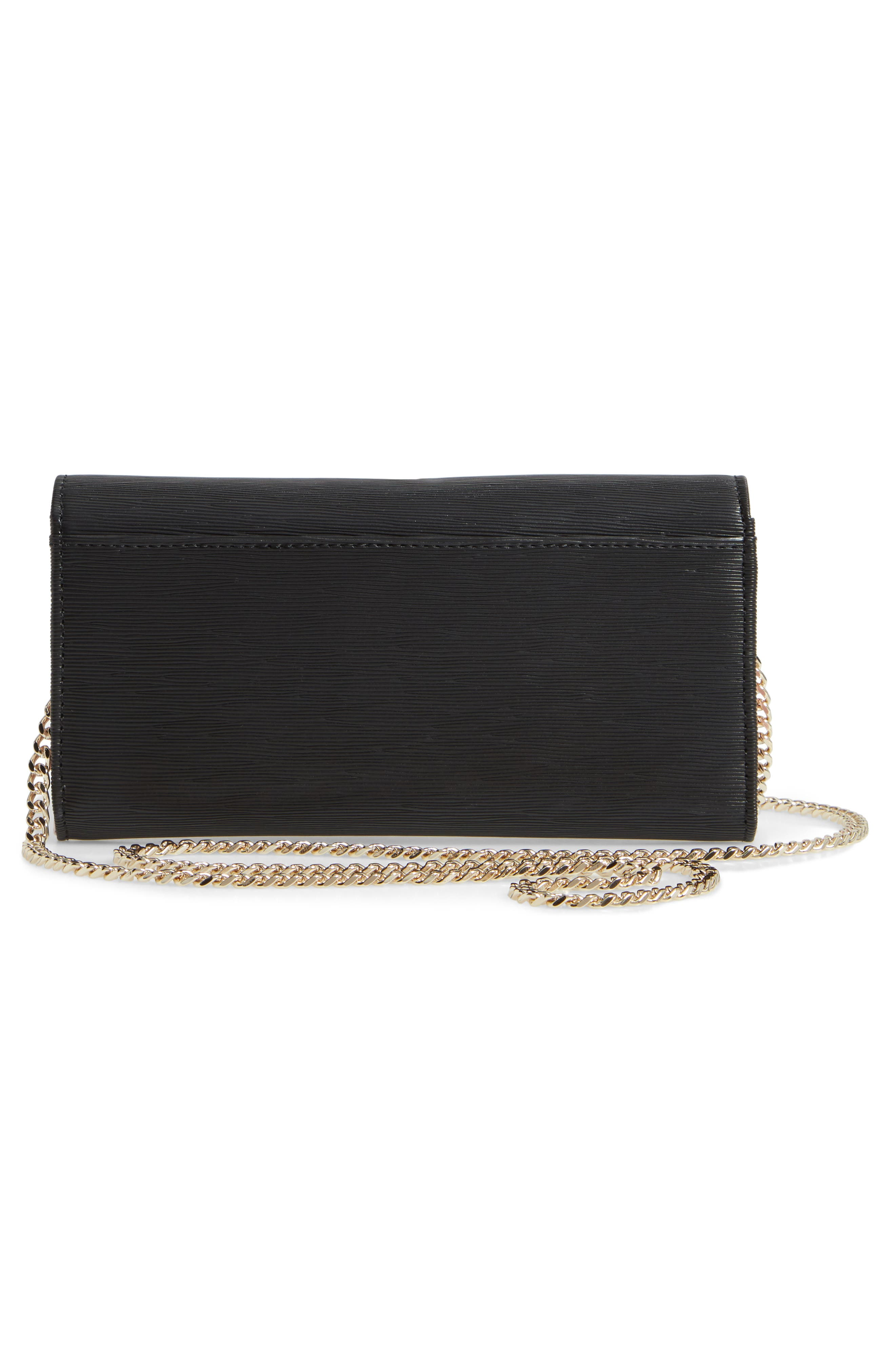Abriana Bow Matinée Wallet on a Chain,                             Alternate thumbnail 3, color,                             BLACK
