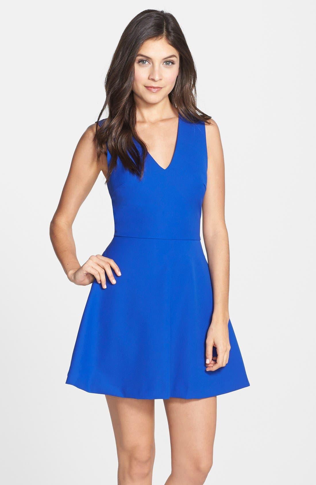 Bianca Back Cutout Fit & Flare Dress,                             Main thumbnail 1, color,                             COBALT