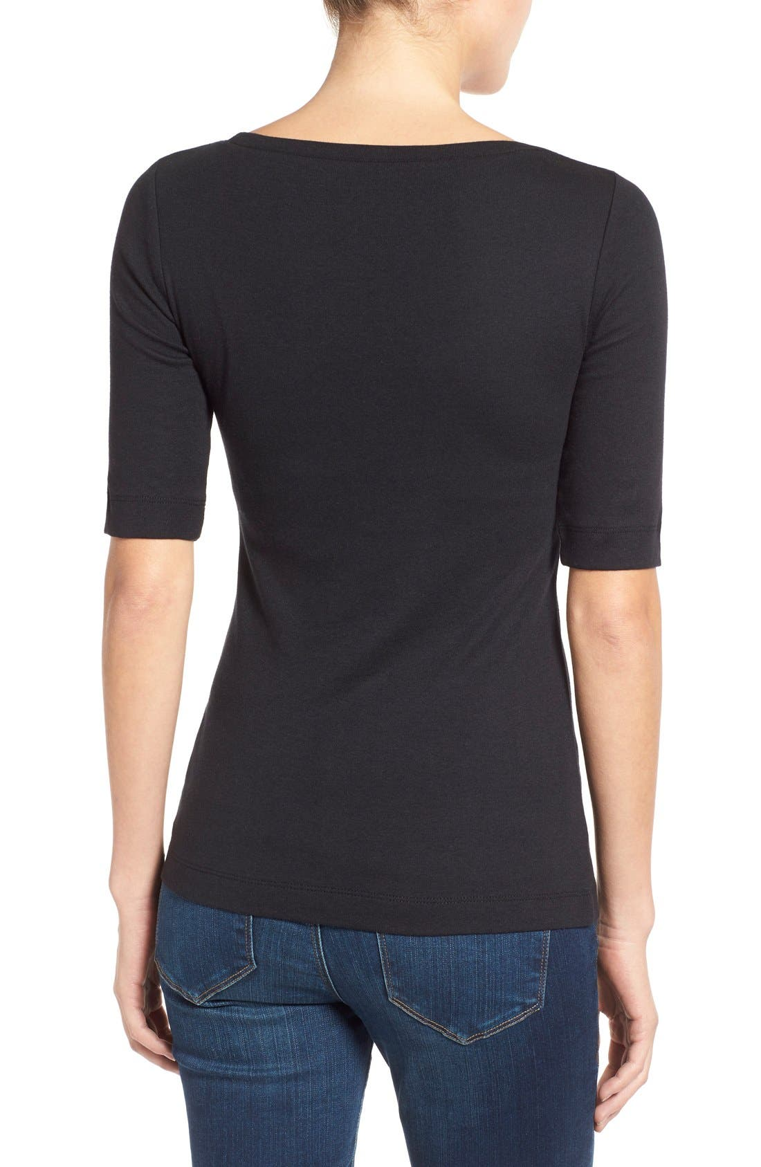 Ballet Neck Cotton & Modal Knit Elbow Sleeve Tee,                             Alternate thumbnail 8, color,                             001