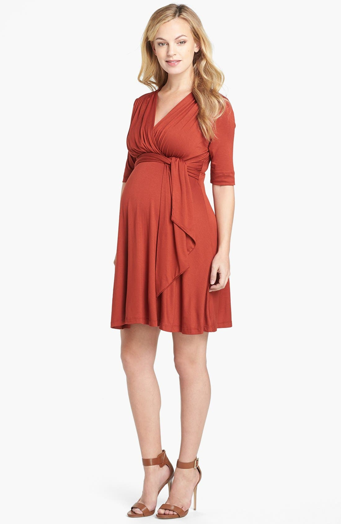 Maternity Tie Front Dress,                         Main,                         color, RUST