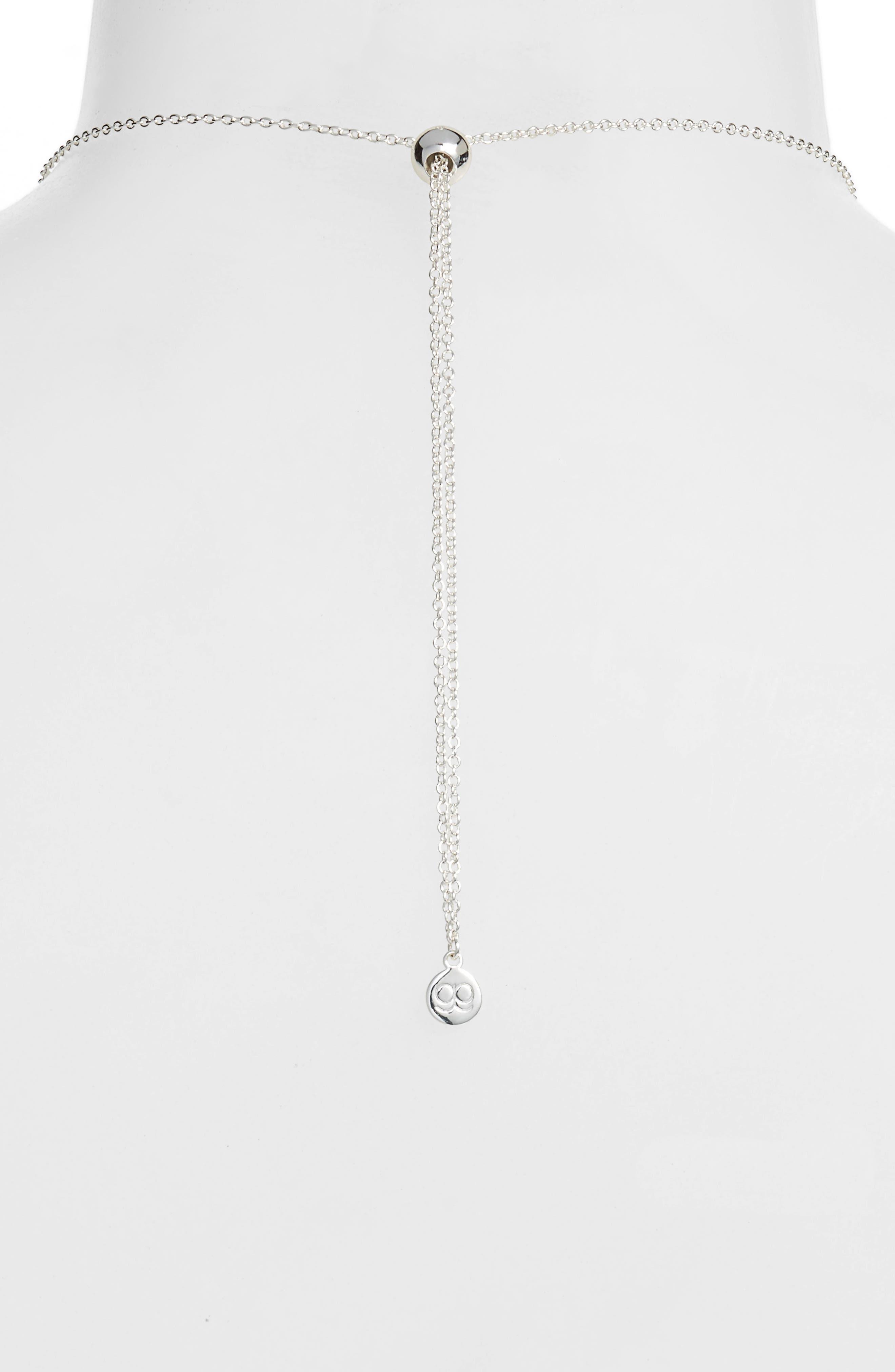 Quinn Long Pendant Necklace,                             Alternate thumbnail 4, color,                             SILVER