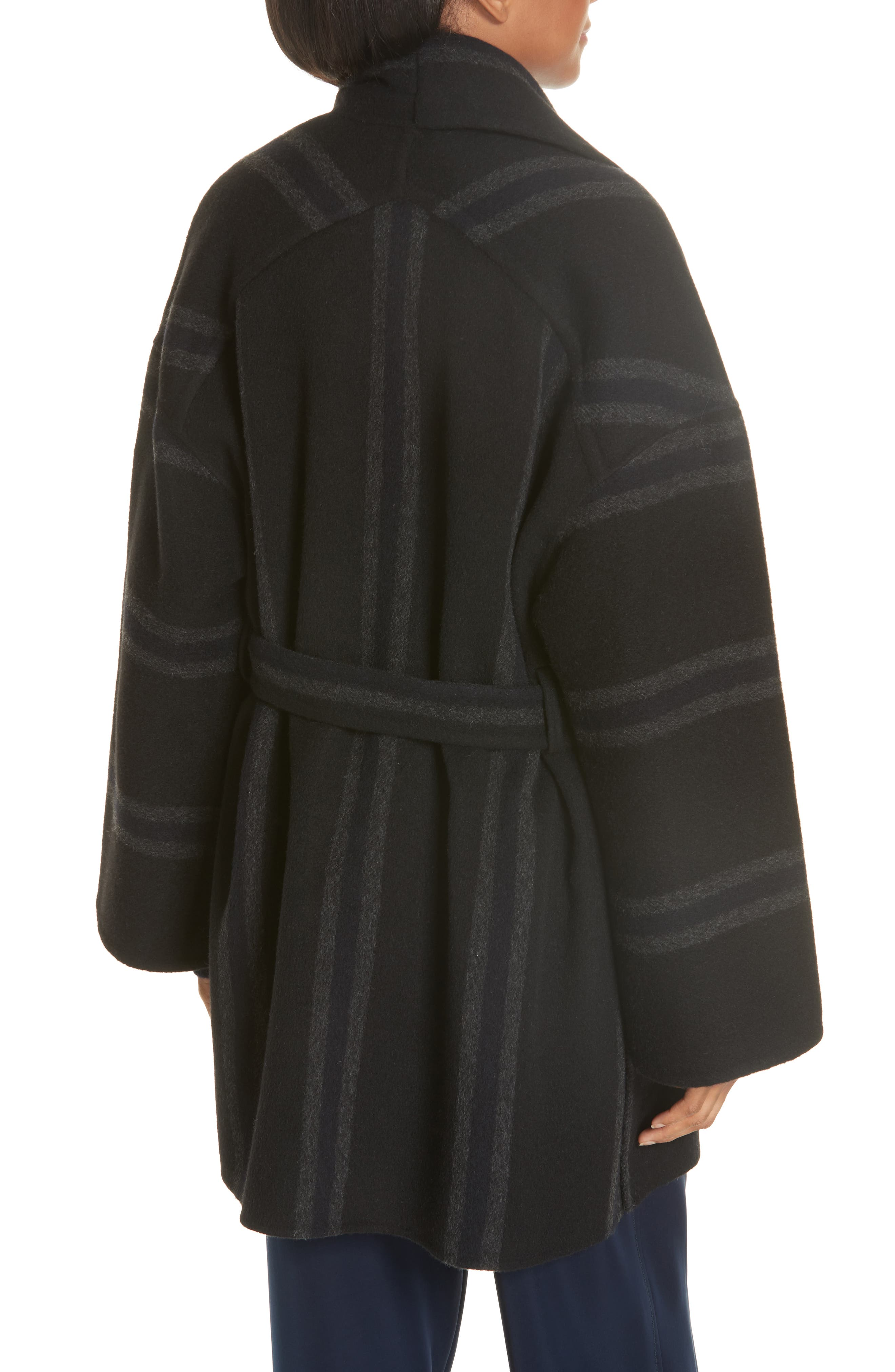Stripe Blanket Coat,                             Alternate thumbnail 2, color,                             ONYX