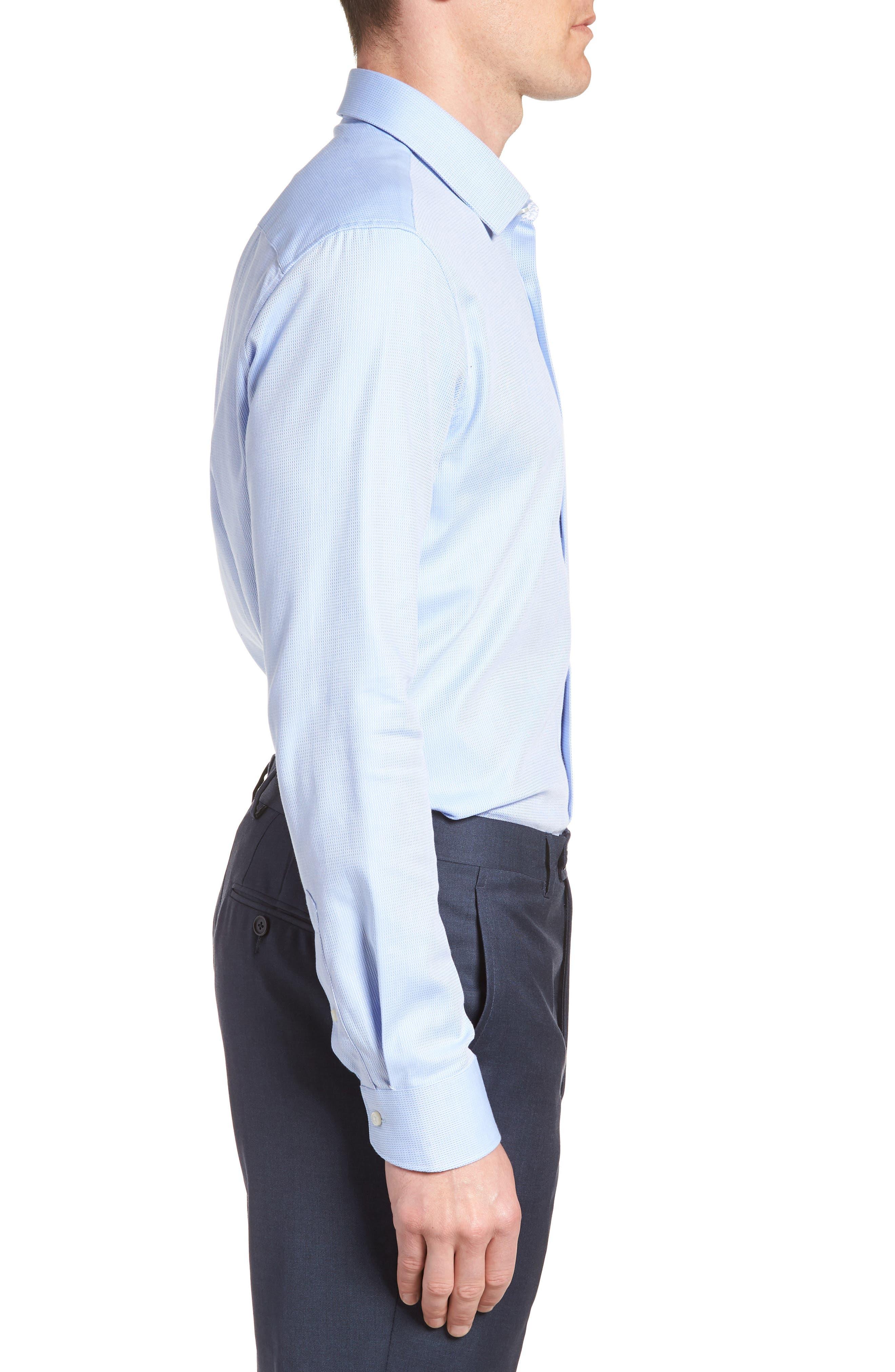 Trim Fit Stretch Performance Dress Shirt,                             Alternate thumbnail 4, color,                             BLUE