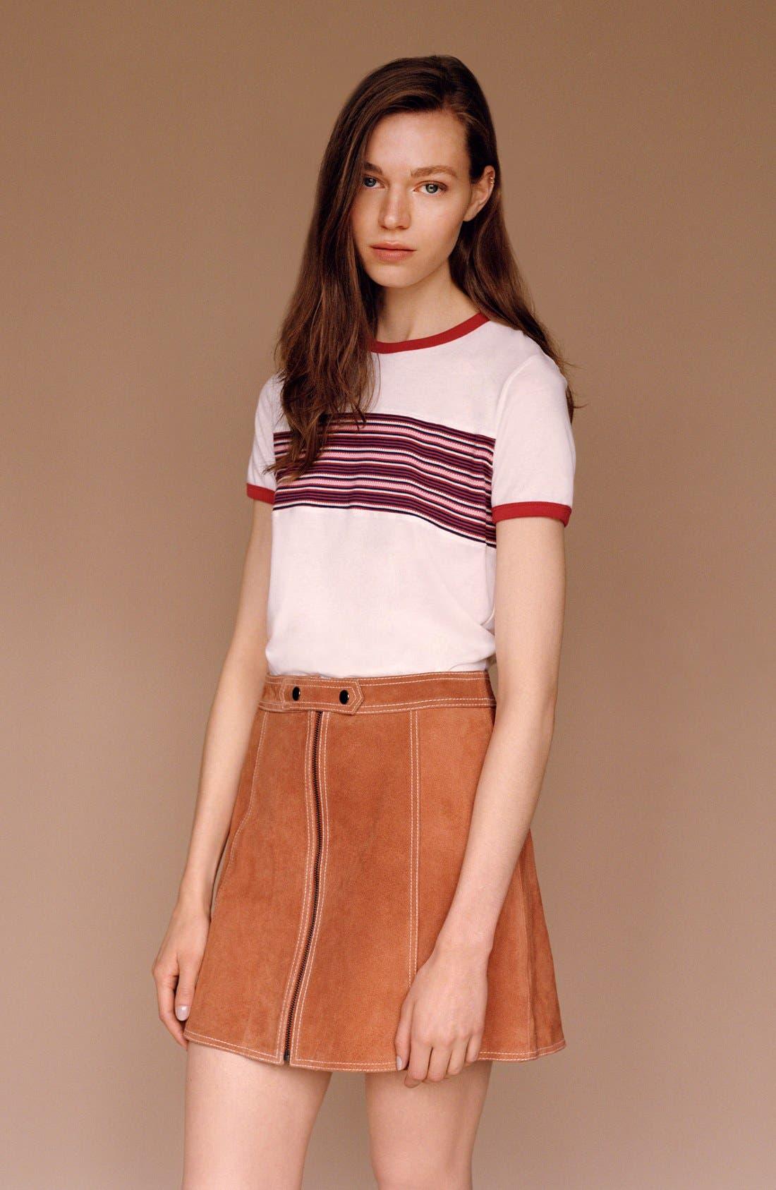 Suede A-Line Miniskirt,                             Alternate thumbnail 3, color,                             610