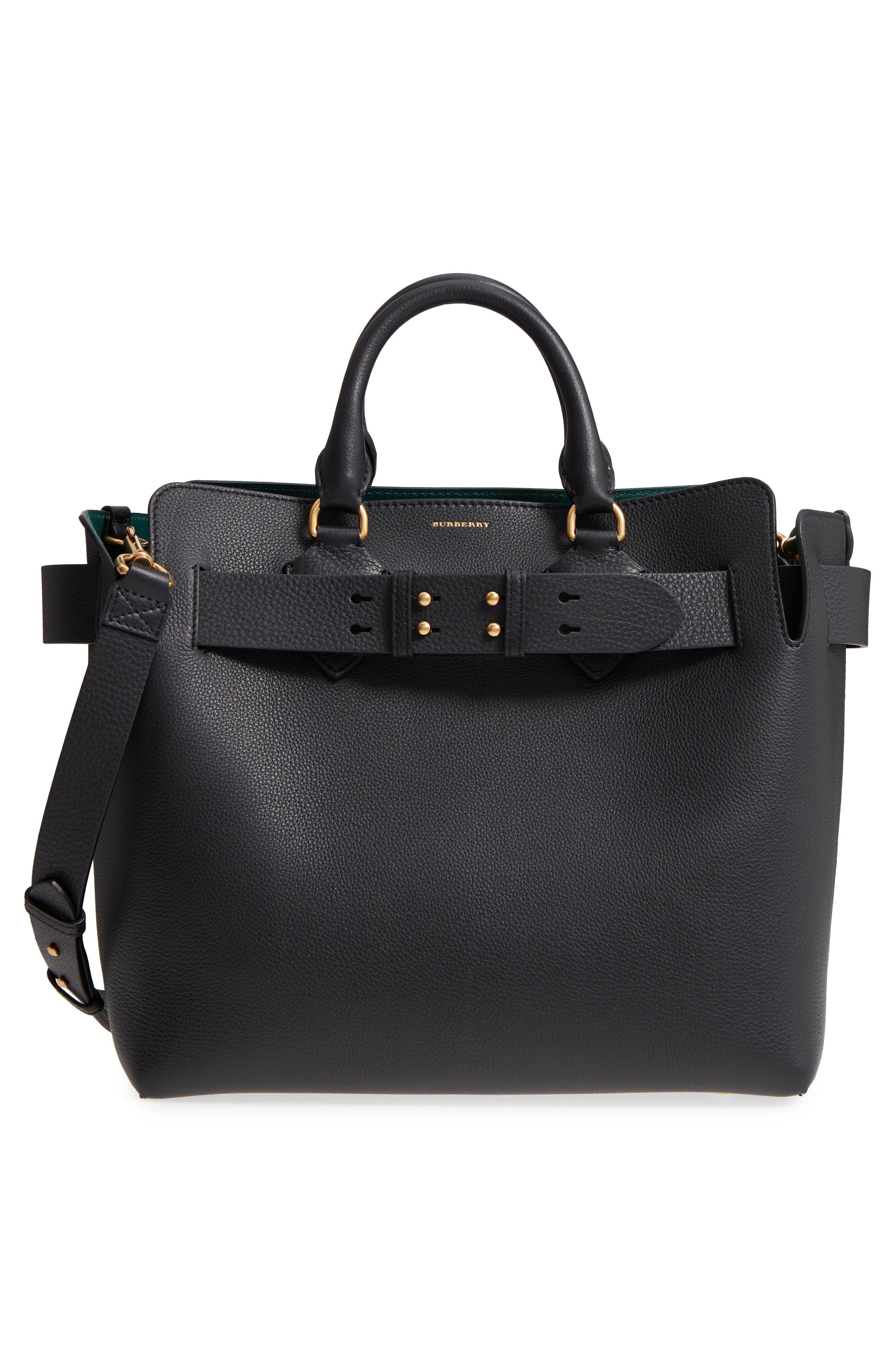 Medium Belt Bag Leather Tote,                             Alternate thumbnail 3, color,                             001