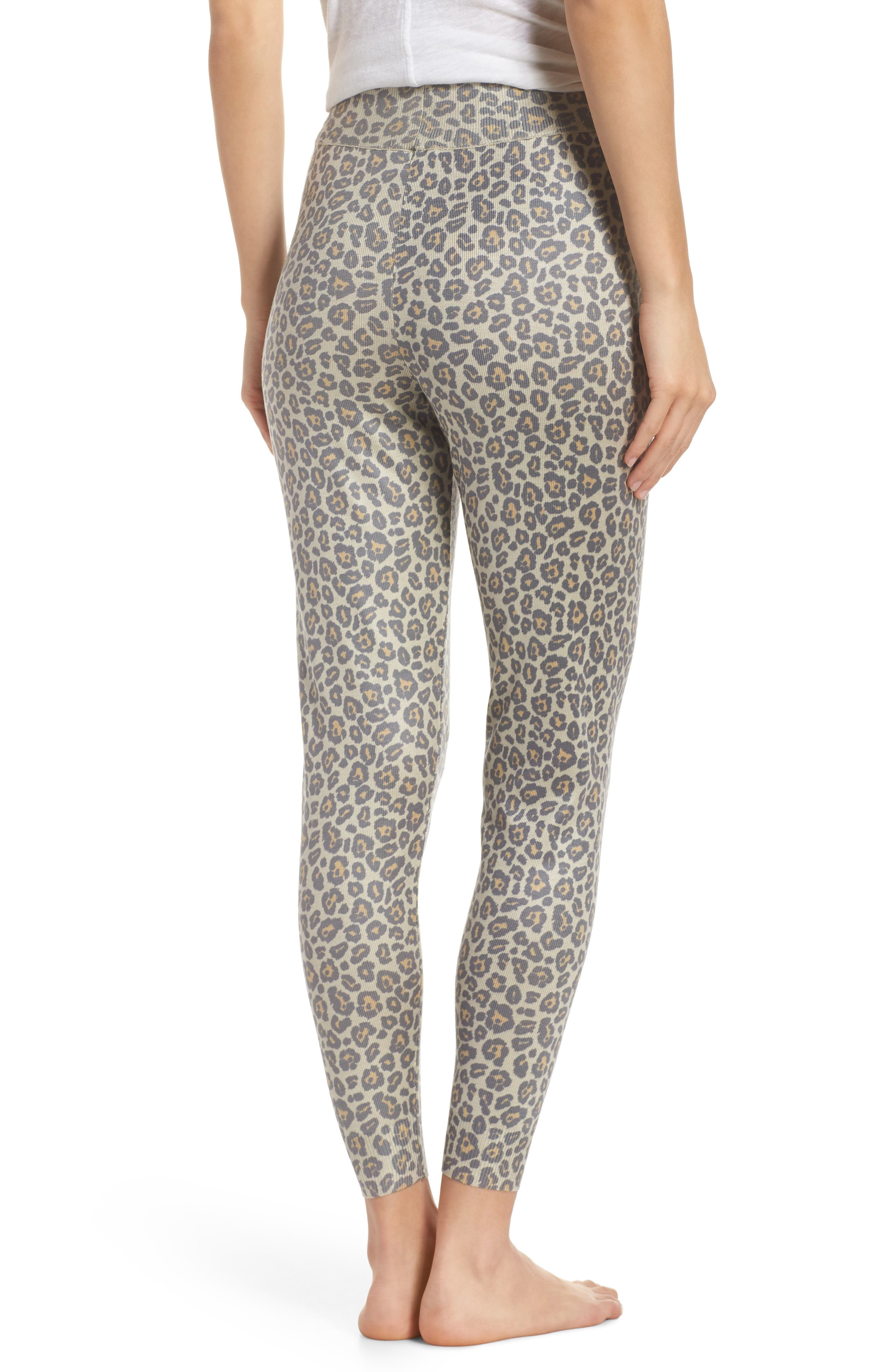Leopard Knit Lounge Pant,                             Alternate thumbnail 2, color,                             BEIGE LEOPARD