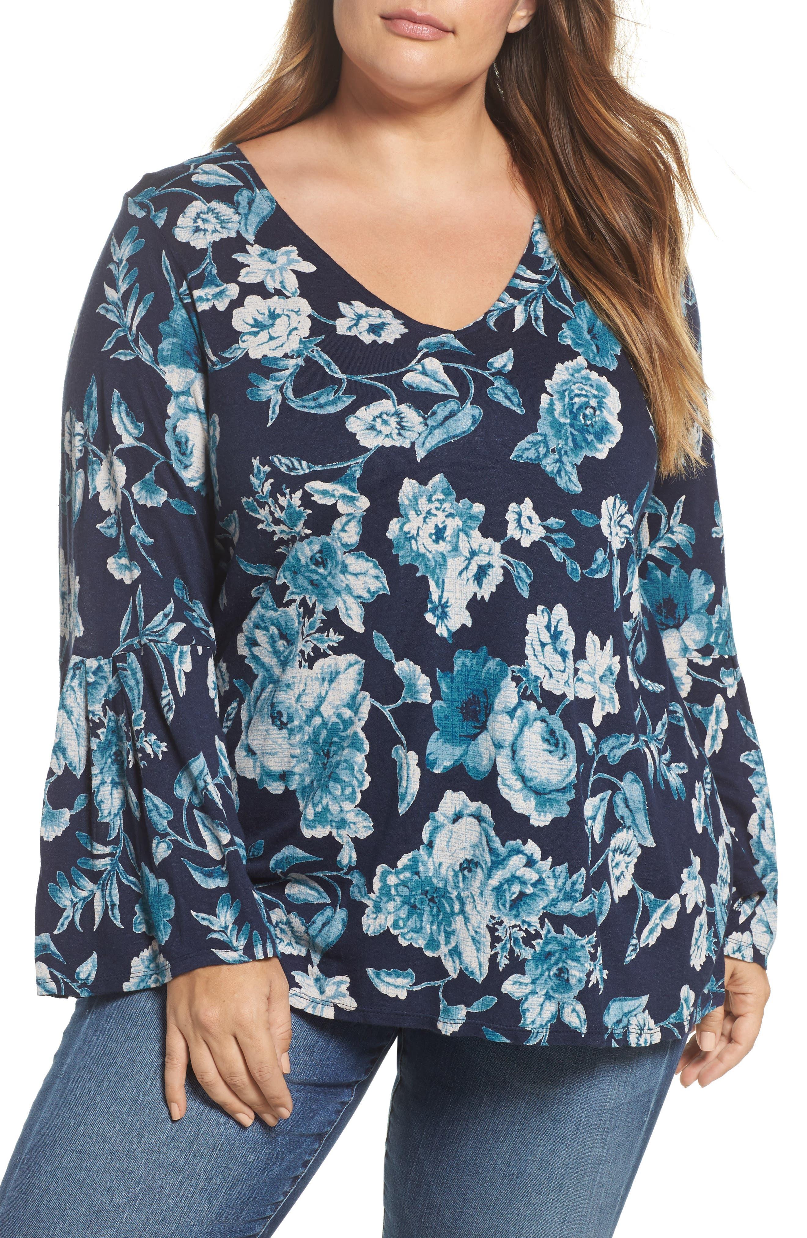 Encinitas Bell Sleeve Floral Top,                             Main thumbnail 1, color,