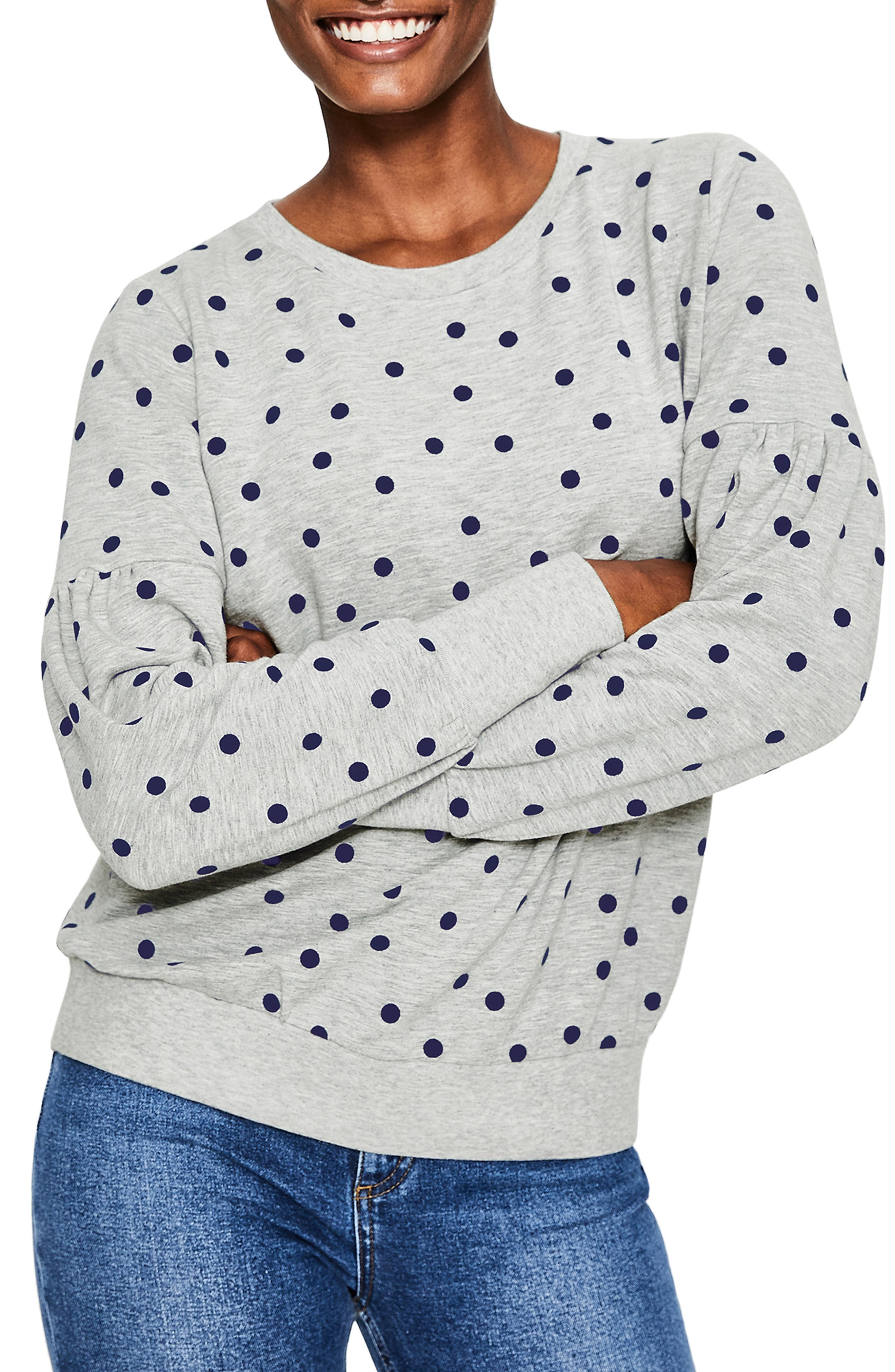 Renee Sweatshirt,                         Main,                         color, GREY MARL FLOCKED SPOT