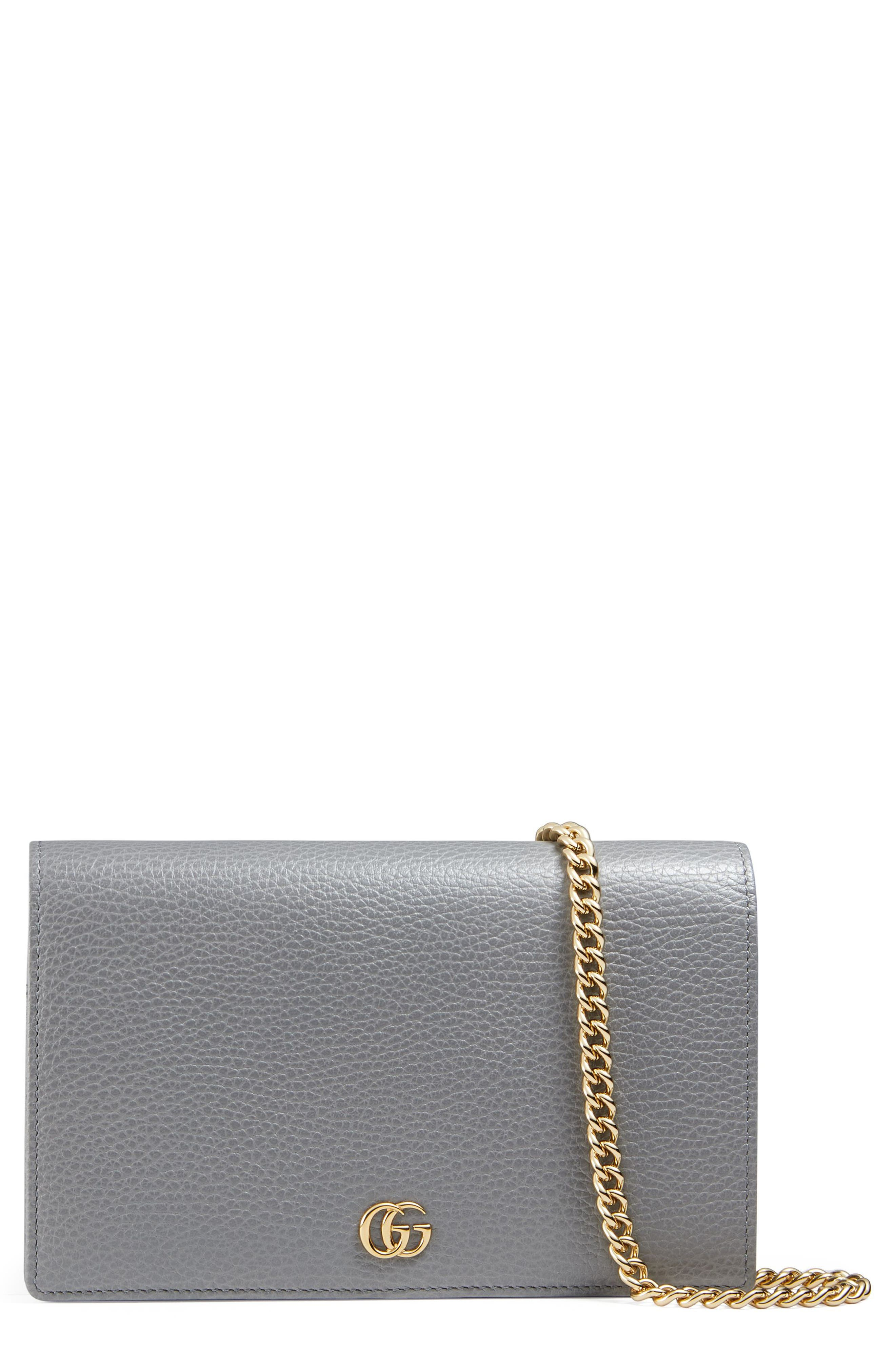 Petite Marmont Leather Wallet on a Chain,                             Main thumbnail 2, color,