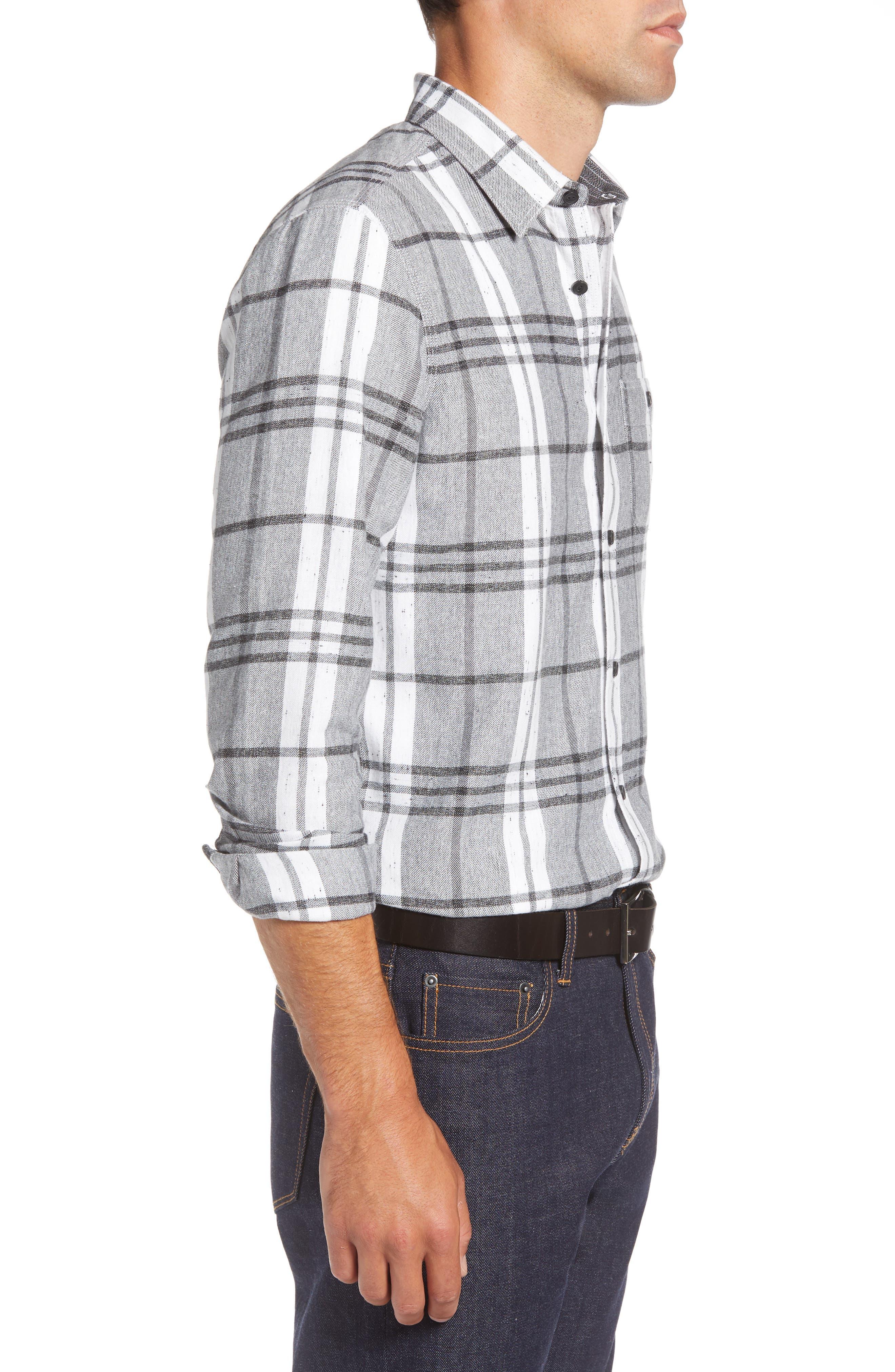 Trim Fit Brushed Plaid Utility Shirt,                             Alternate thumbnail 4, color,                             GREY CASTLEROCK NEP PLAID