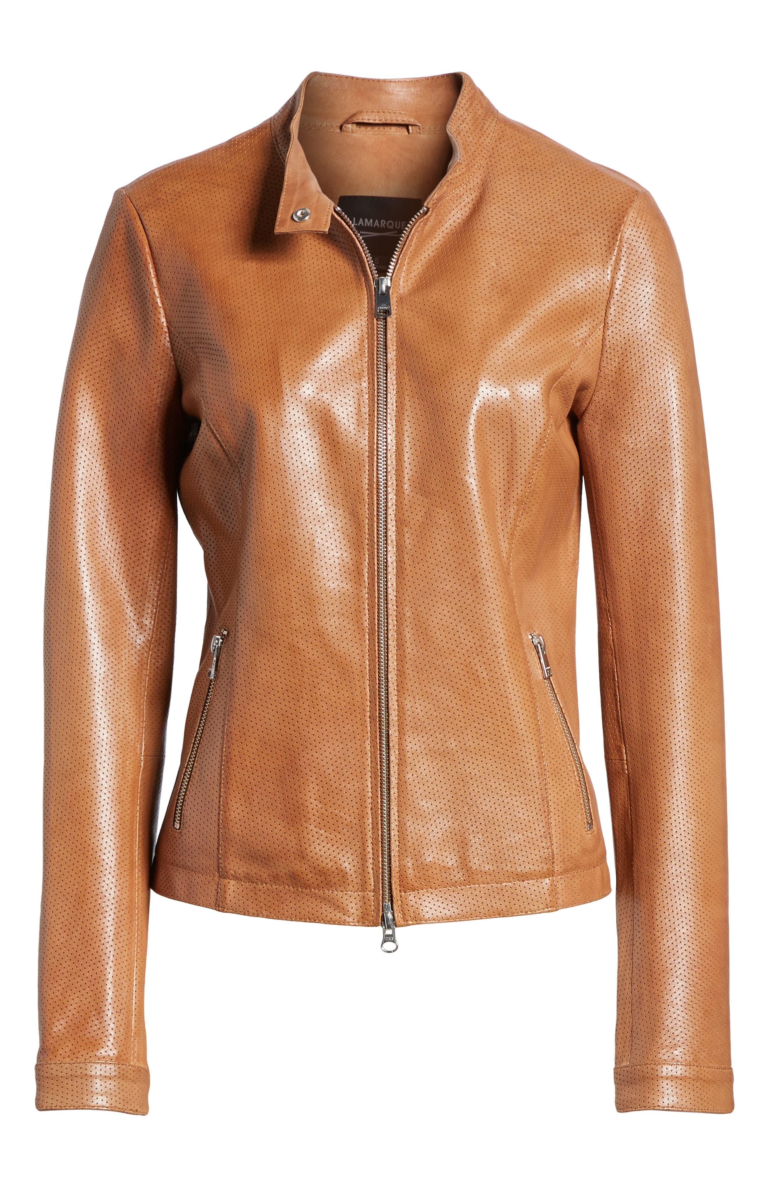 Perforated Leather Biker Jacket,                             Alternate thumbnail 6, color,                             TAN
