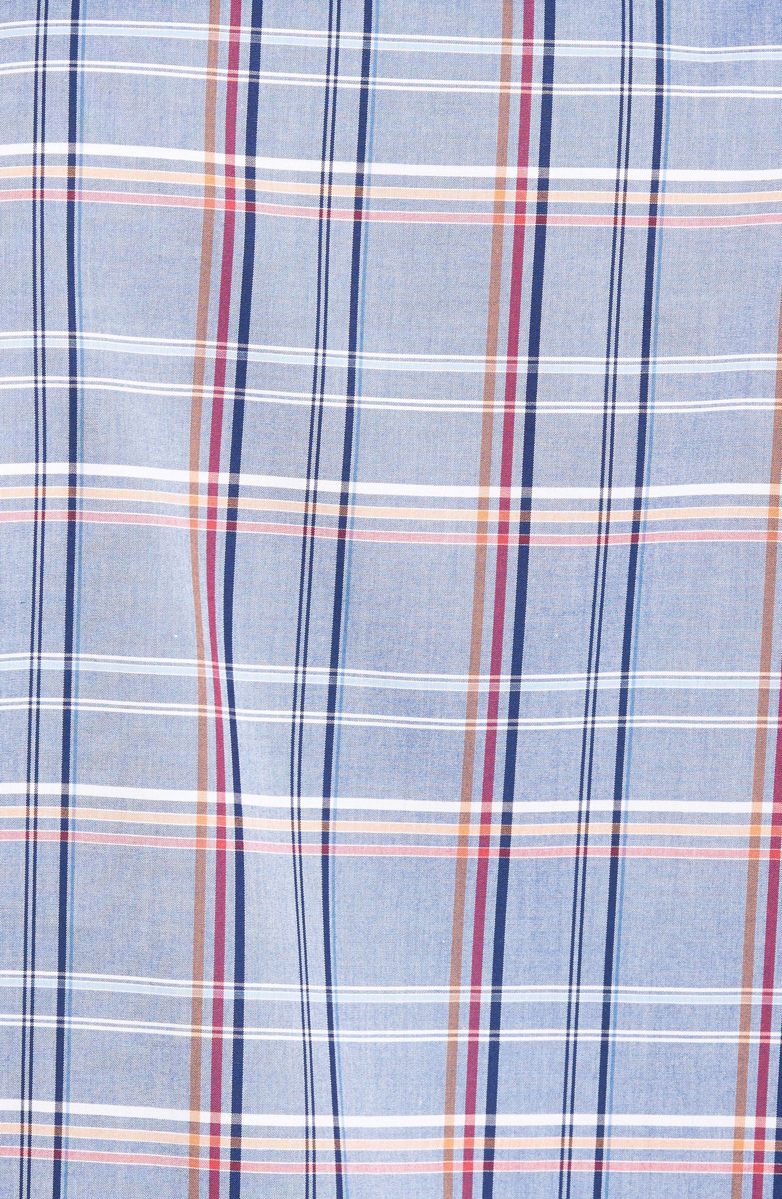 Shaped Fit Plaid Sport Shirt,                             Alternate thumbnail 5, color,                             030