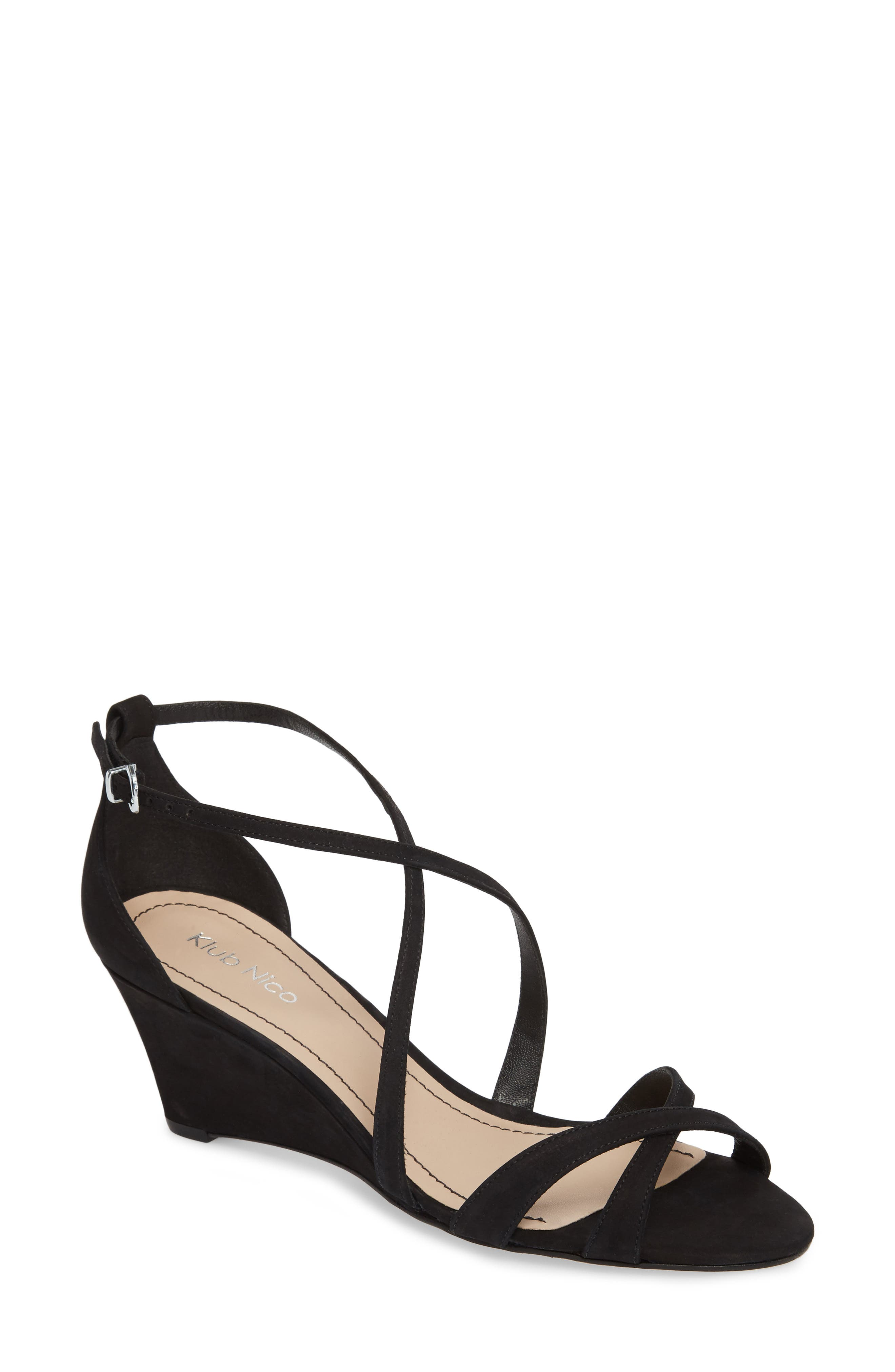 KLUB NICO,                             Kaissa Sandal,                             Main thumbnail 1, color,                             BLACK NUBUCK LEATHER