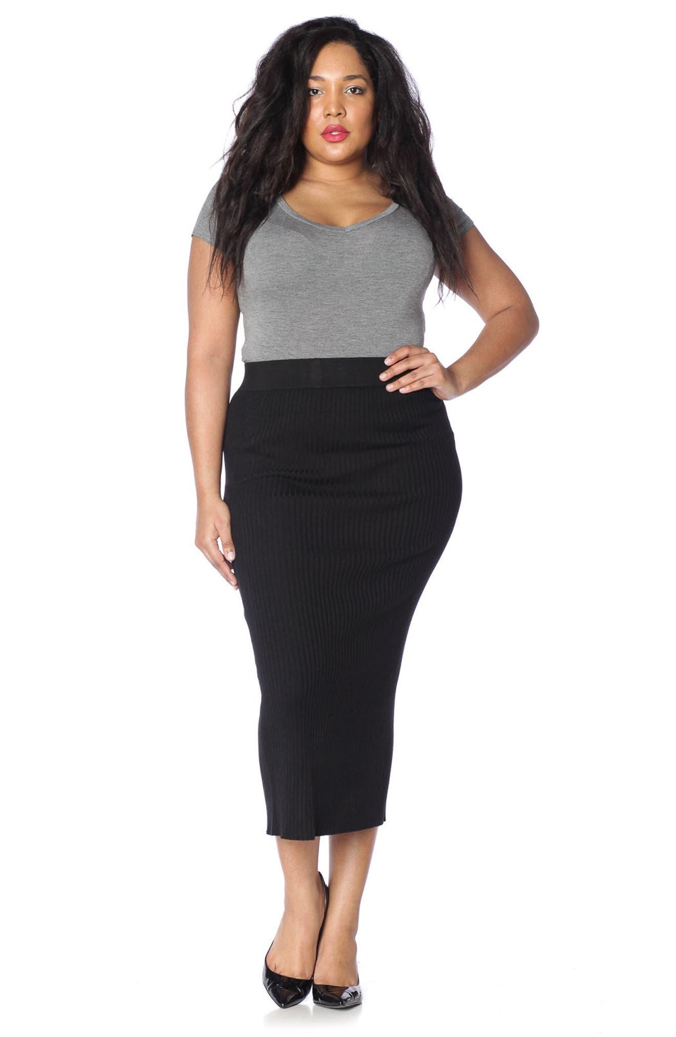 Midi Tube Skirt,                             Alternate thumbnail 4, color,                             BLACK