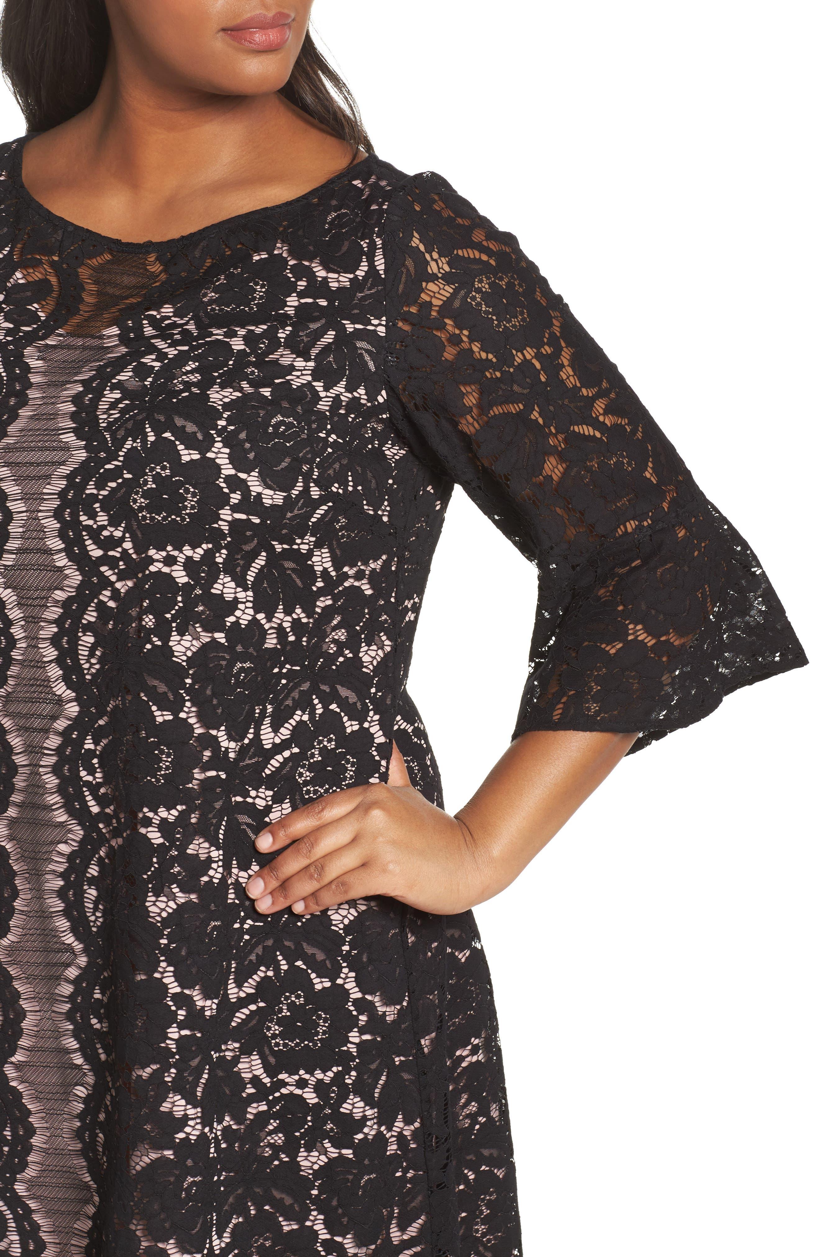 Lace A-Line Dress,                             Alternate thumbnail 4, color,                             001
