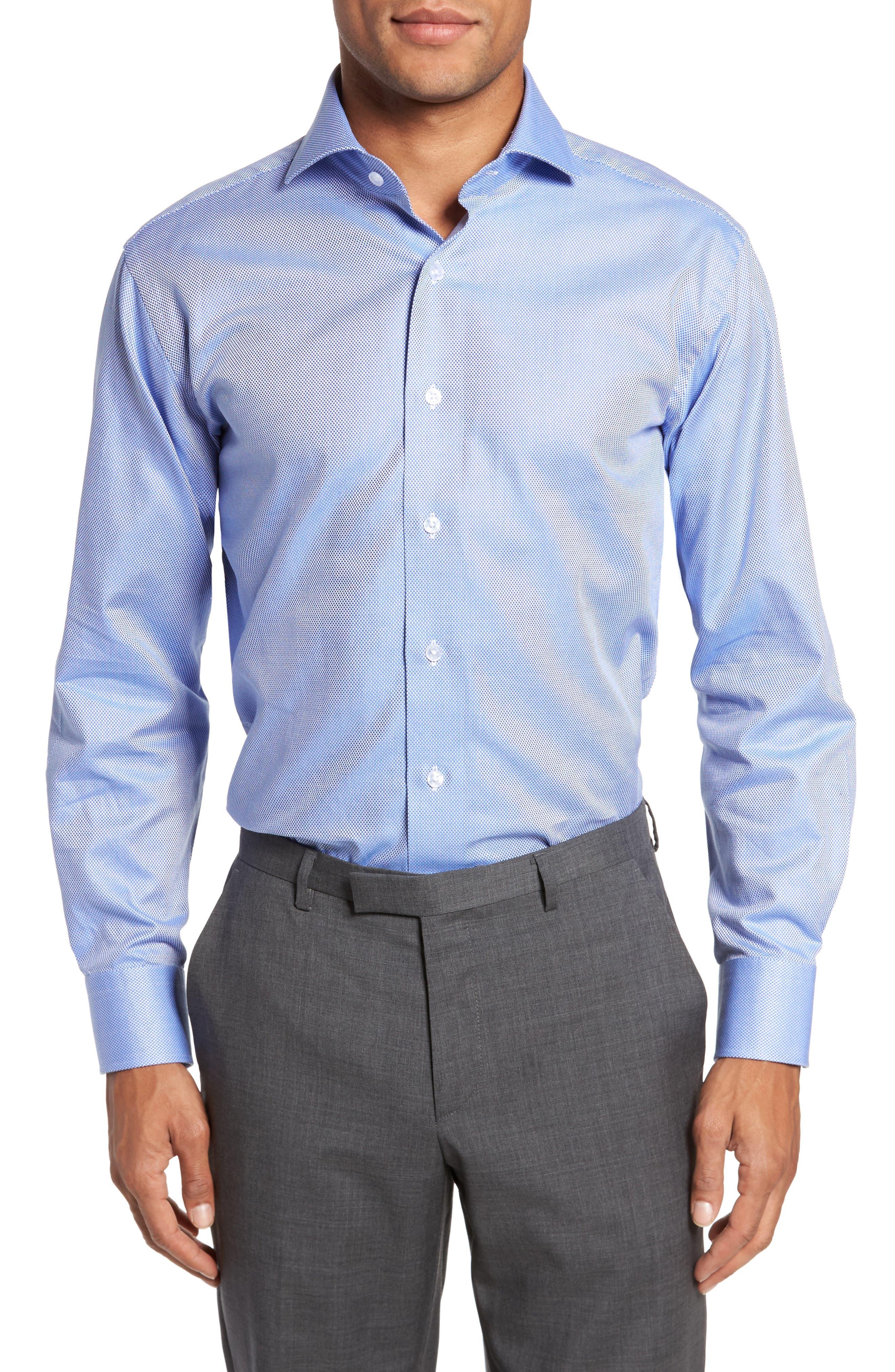 Trim Fit Texture Dress Shirt,                         Main,                         color, NAVY
