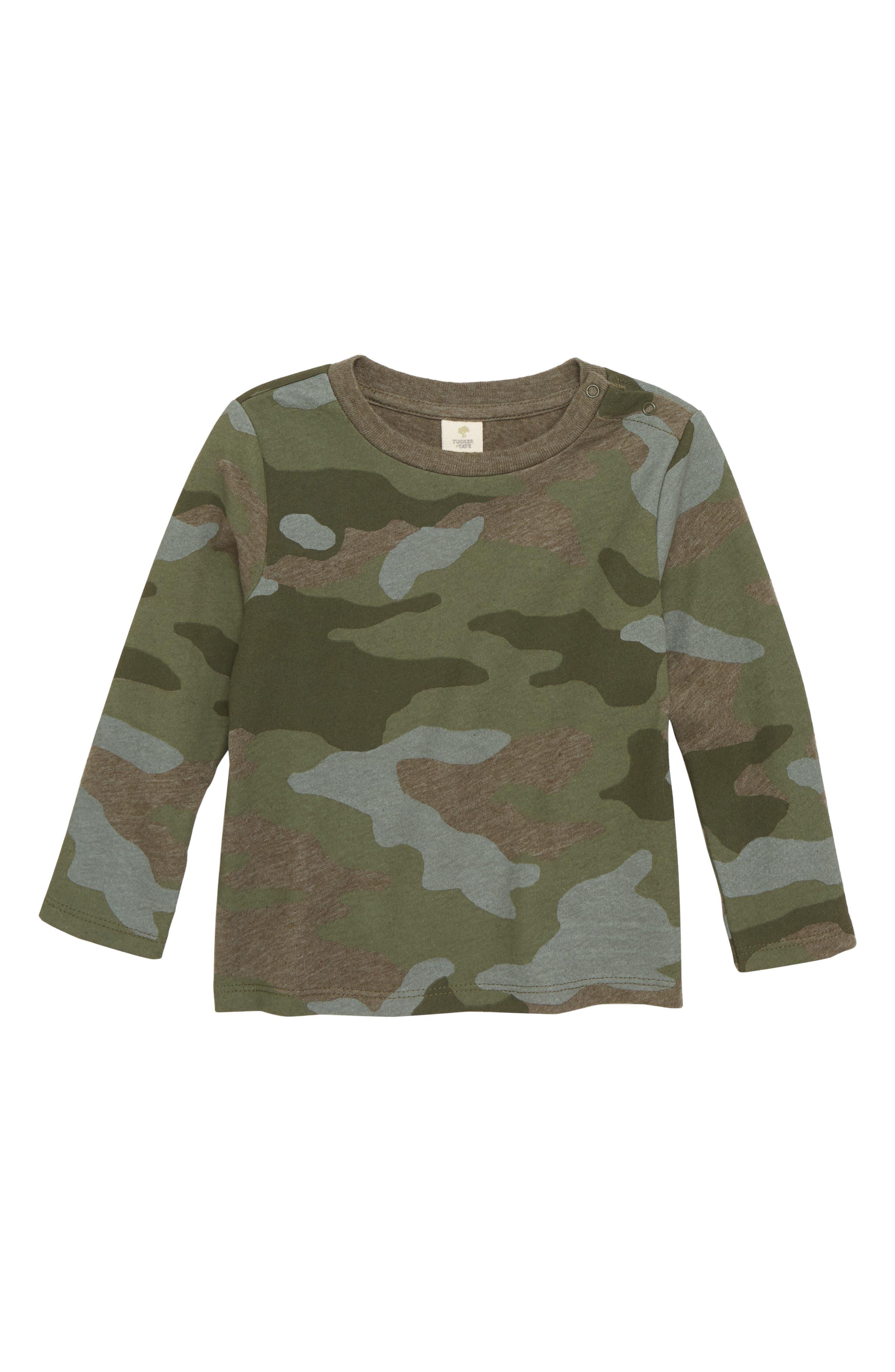 Camo Print Long Sleeve T-shirt,                             Main thumbnail 1, color,                             315