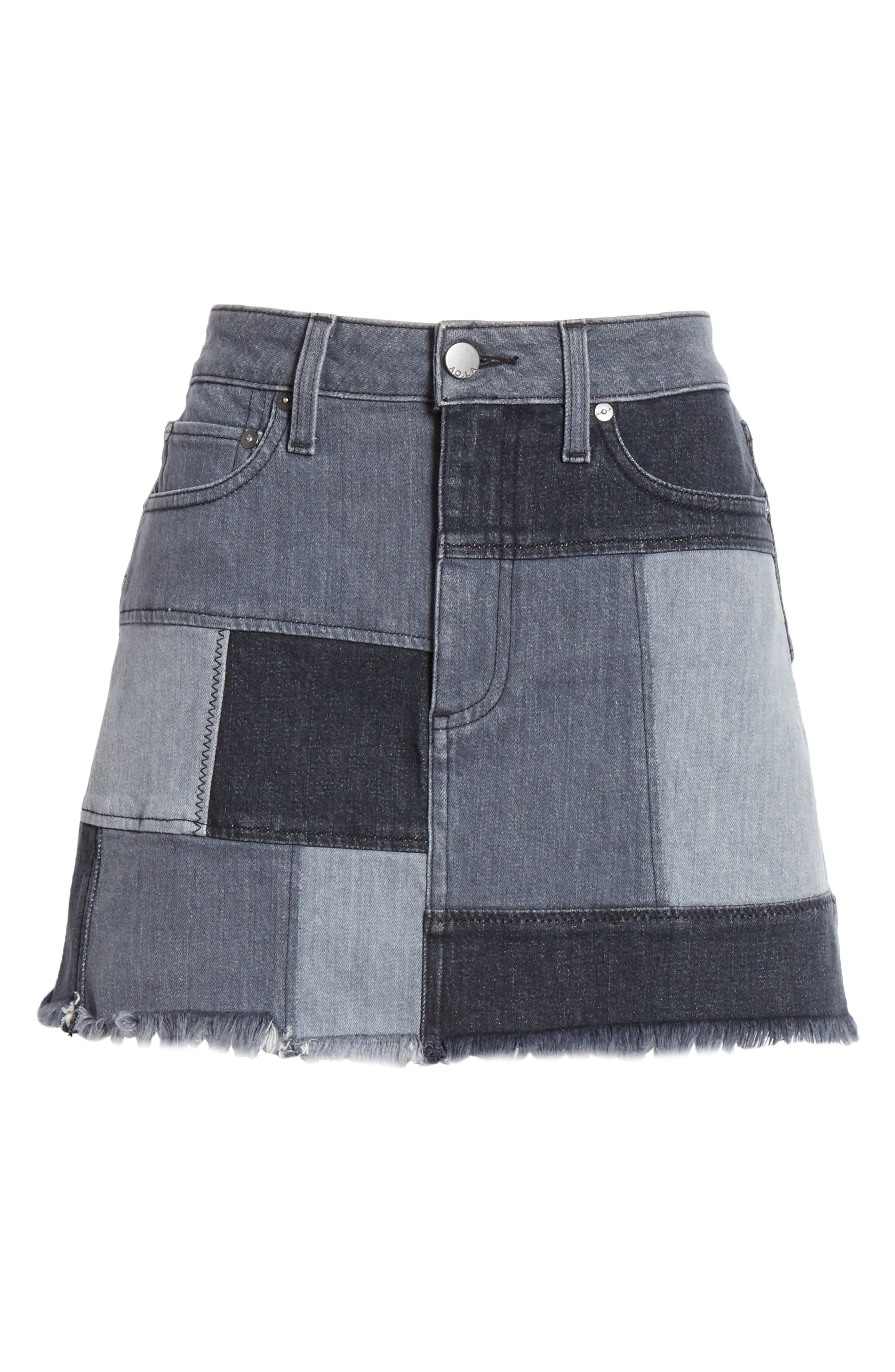 ALICE + OLIVIA JEANS,                             Amazing Patchwork Denim Miniskirt,                             Alternate thumbnail 6, color,                             NIGHT SKY