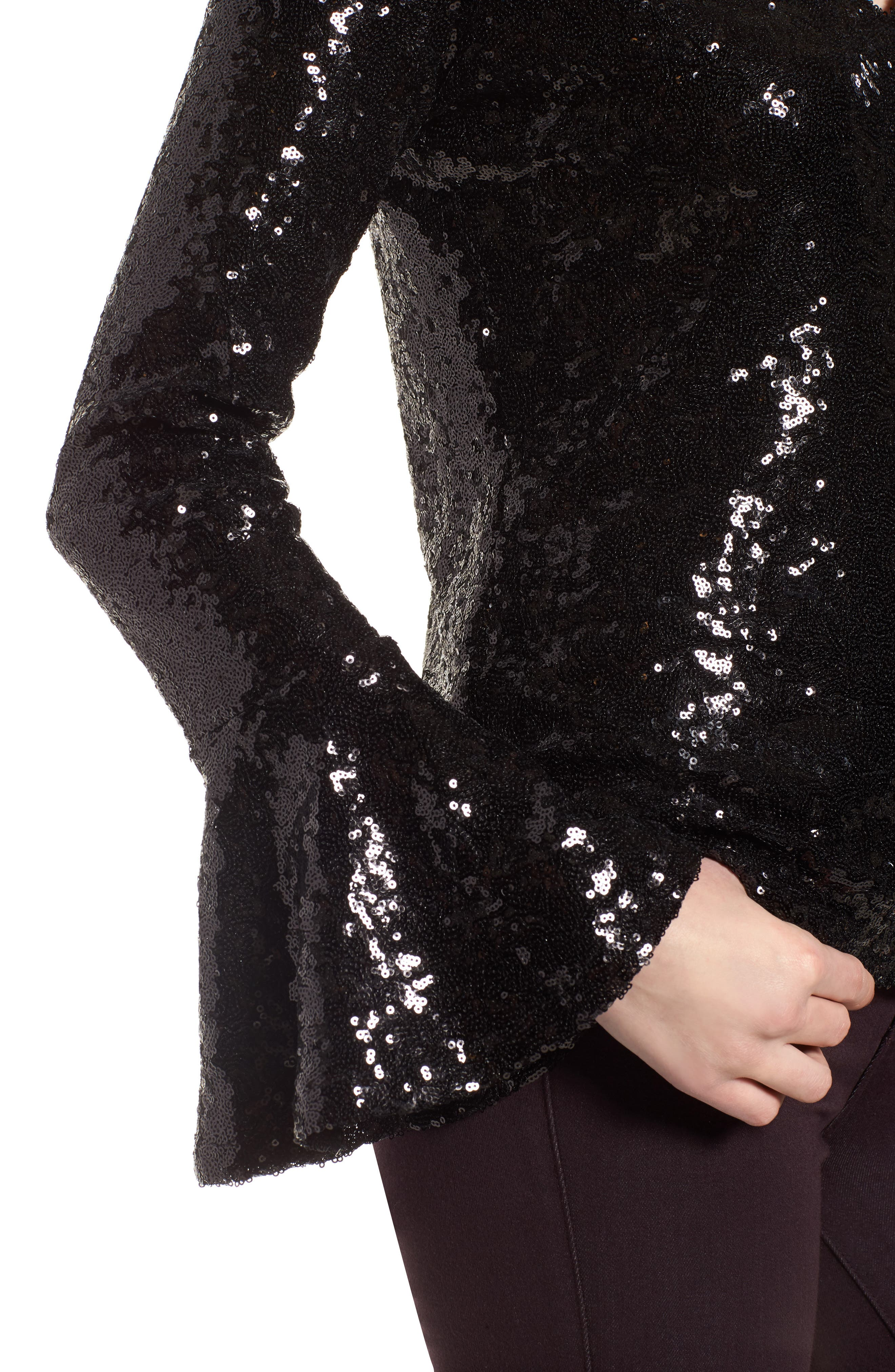 Flare Sleeve Sequin Top,                             Alternate thumbnail 4, color,                             001