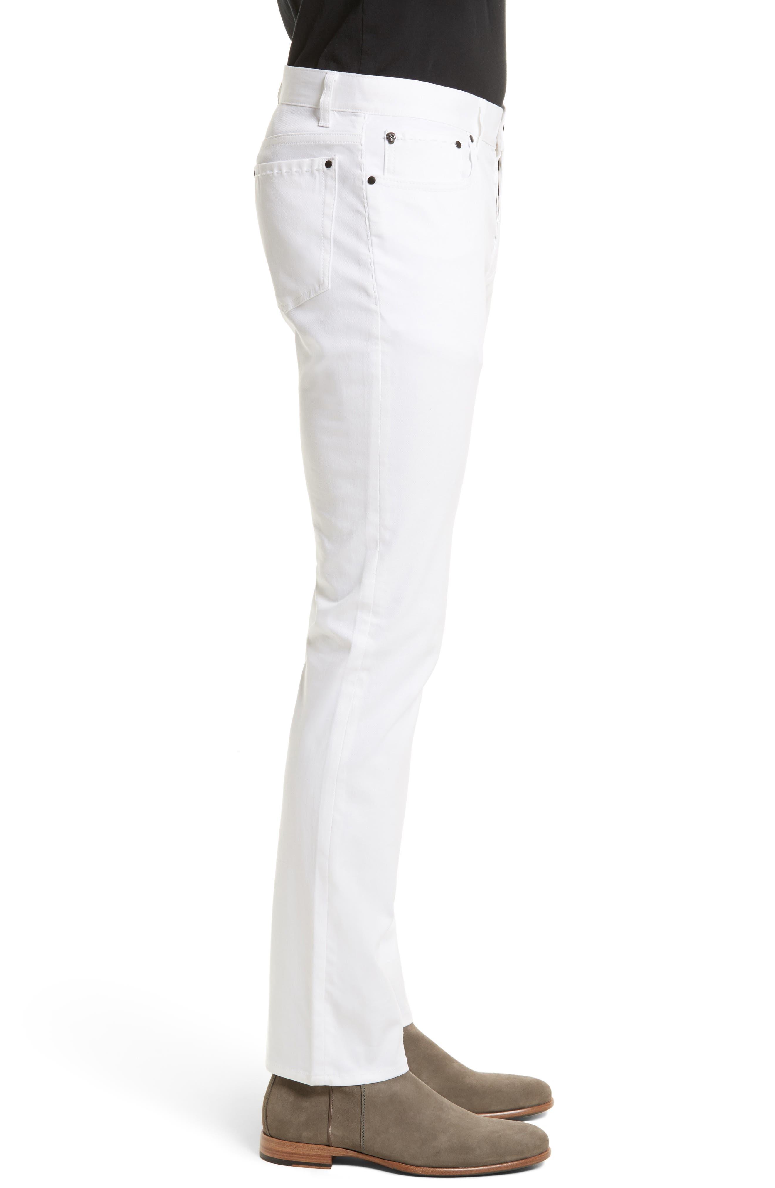 Slim Fit Five Pocket Pants,                             Alternate thumbnail 3, color,                             WHITE