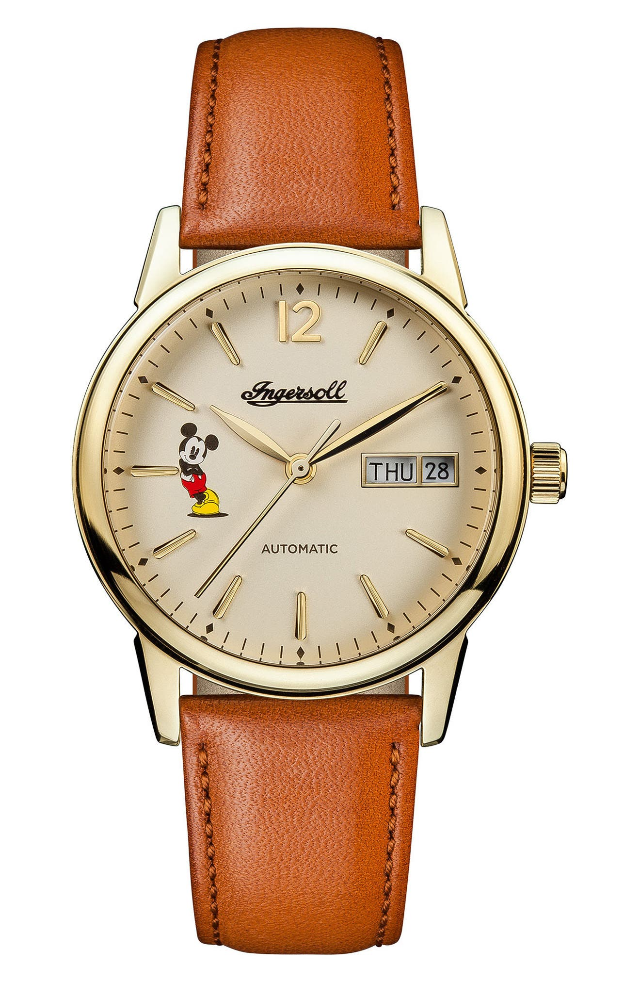 Ingersoll New Haven Disney Automatic Leather Strap Watch, 34mm,                             Main thumbnail 1, color,                             201