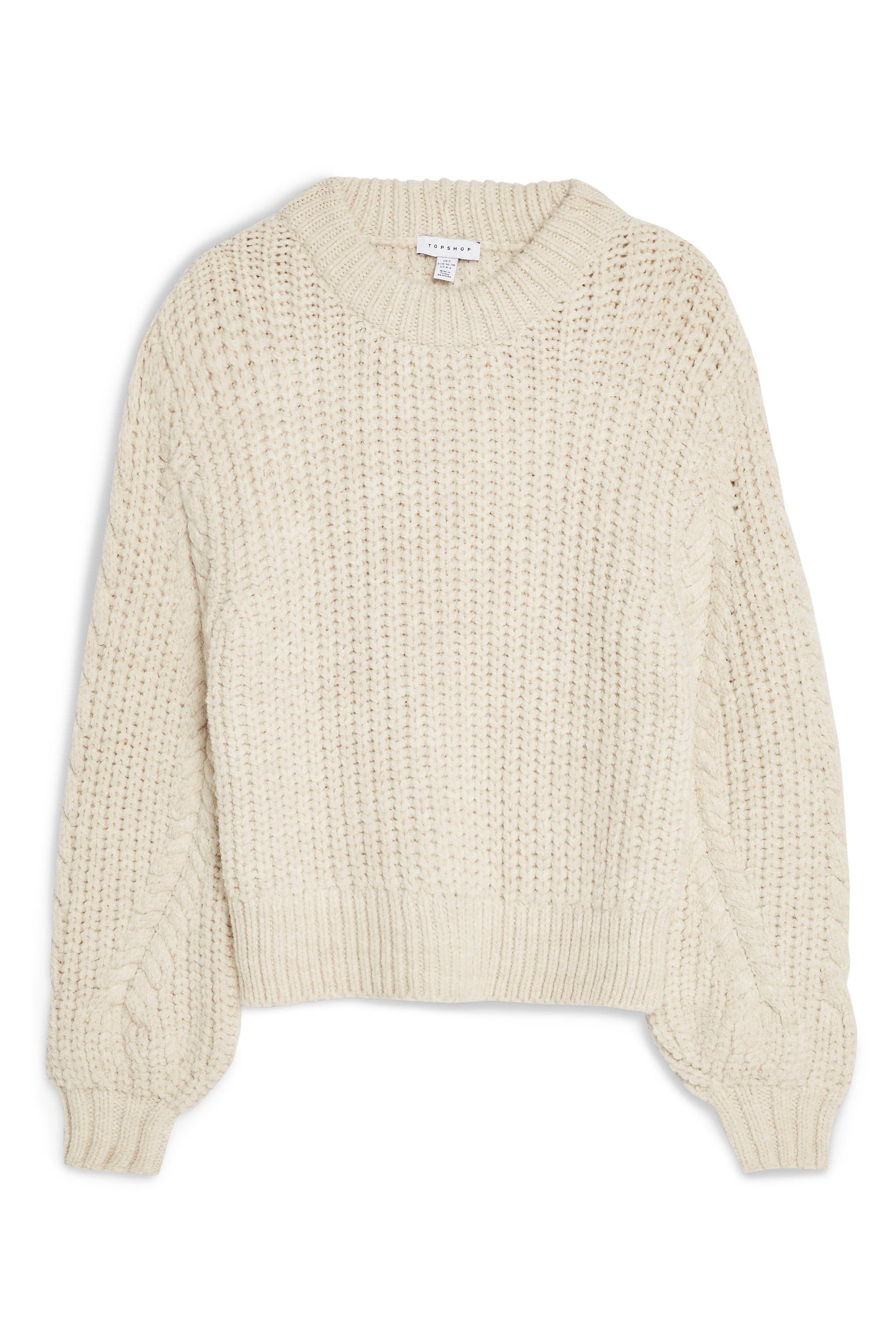 TOPSHOP,                             Bishop Sleeve Cable Knit Sweater,                             Alternate thumbnail 4, color,                             OATMEAL
