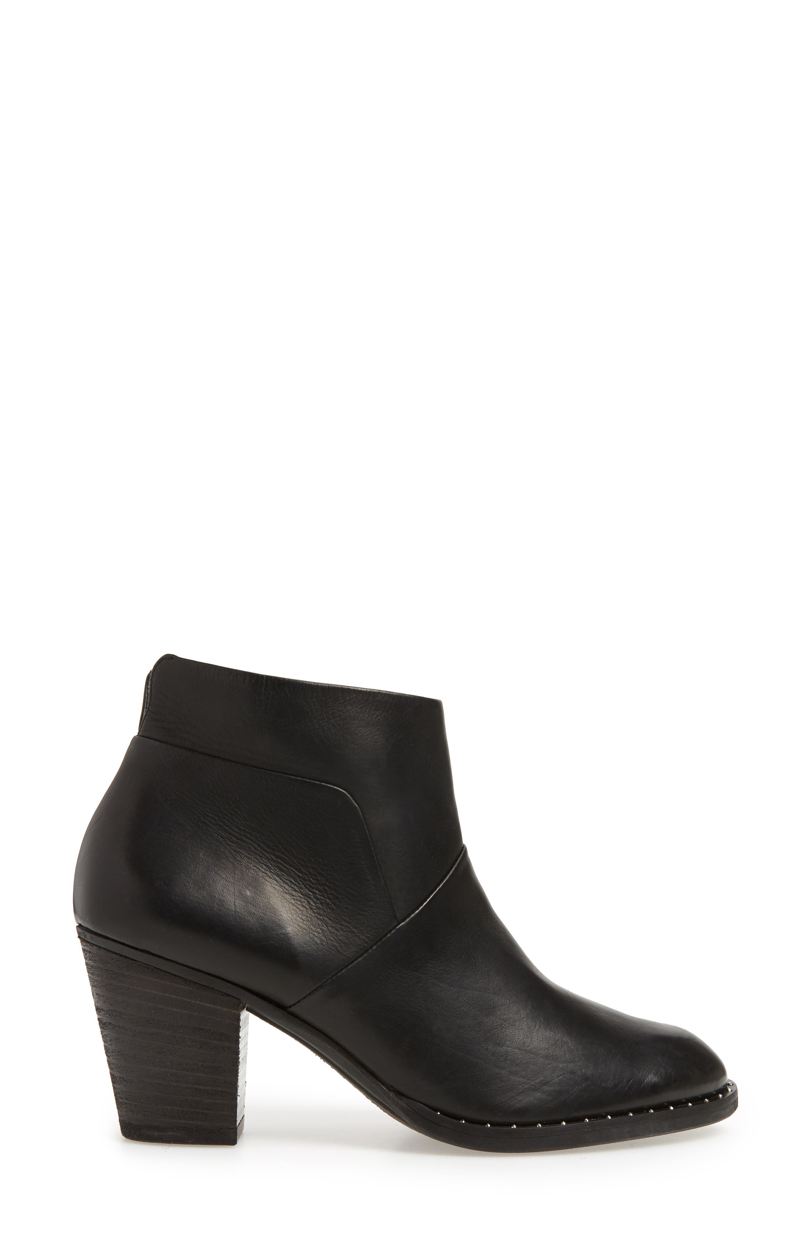 Stella Bootie,                             Alternate thumbnail 3, color,                             BLACK LEATHER