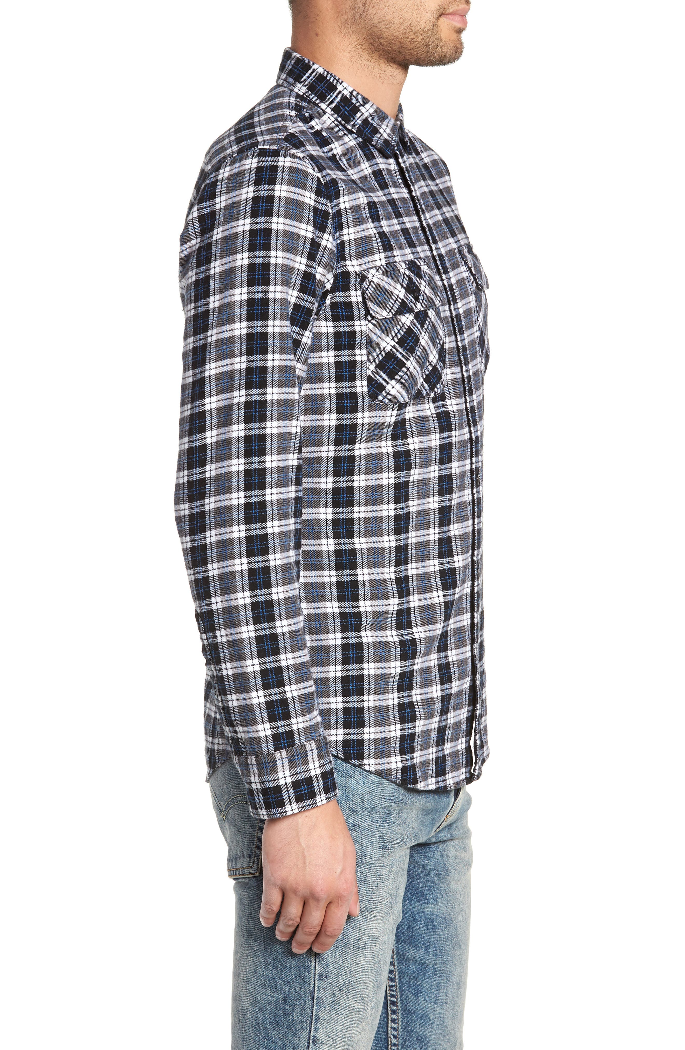 Plaid Flannel Shirt,                             Alternate thumbnail 3, color,                             030