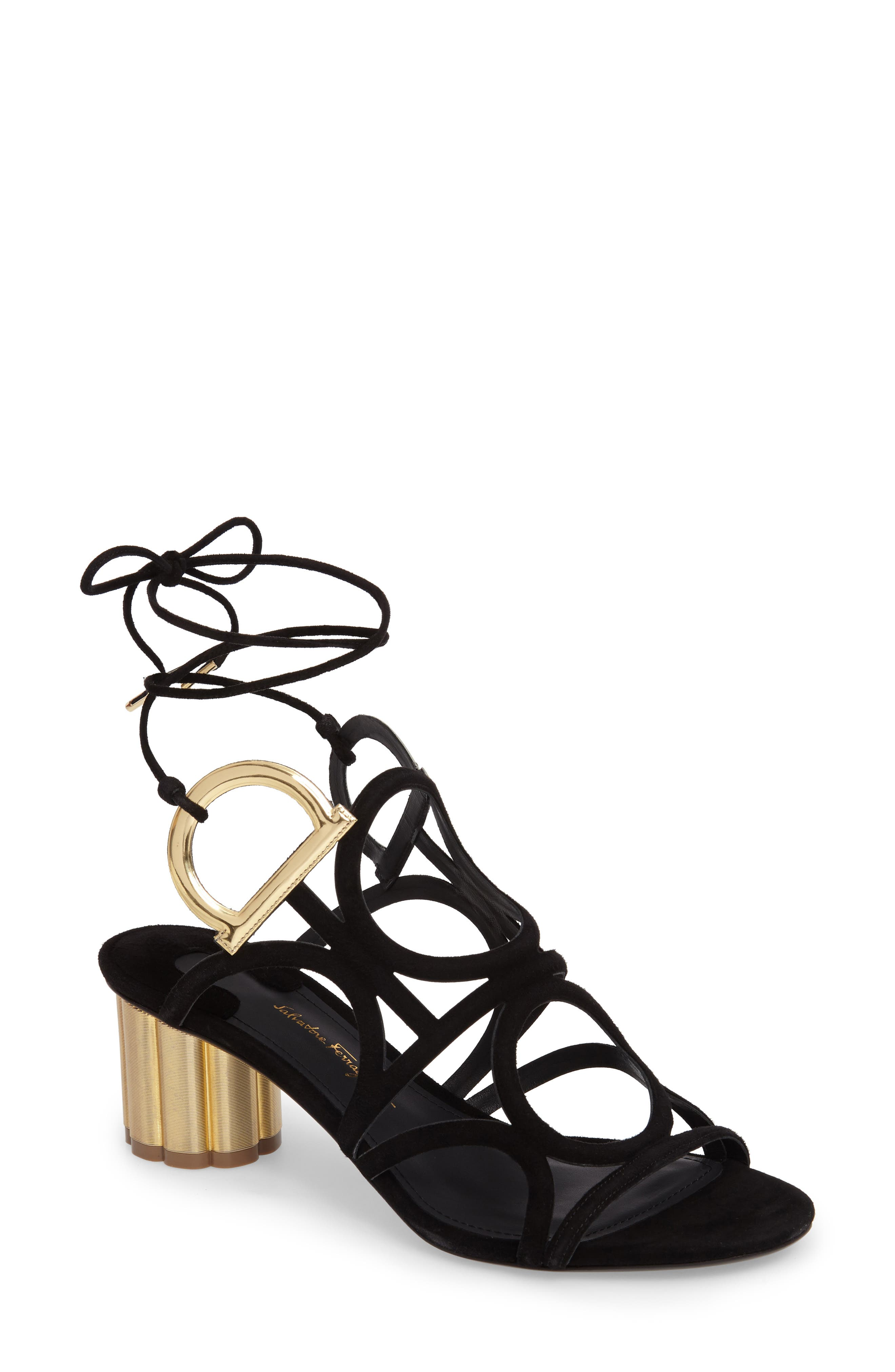 Vinci Lace-Up Block Heel Sandal,                         Main,                         color, BLACK SUEDE