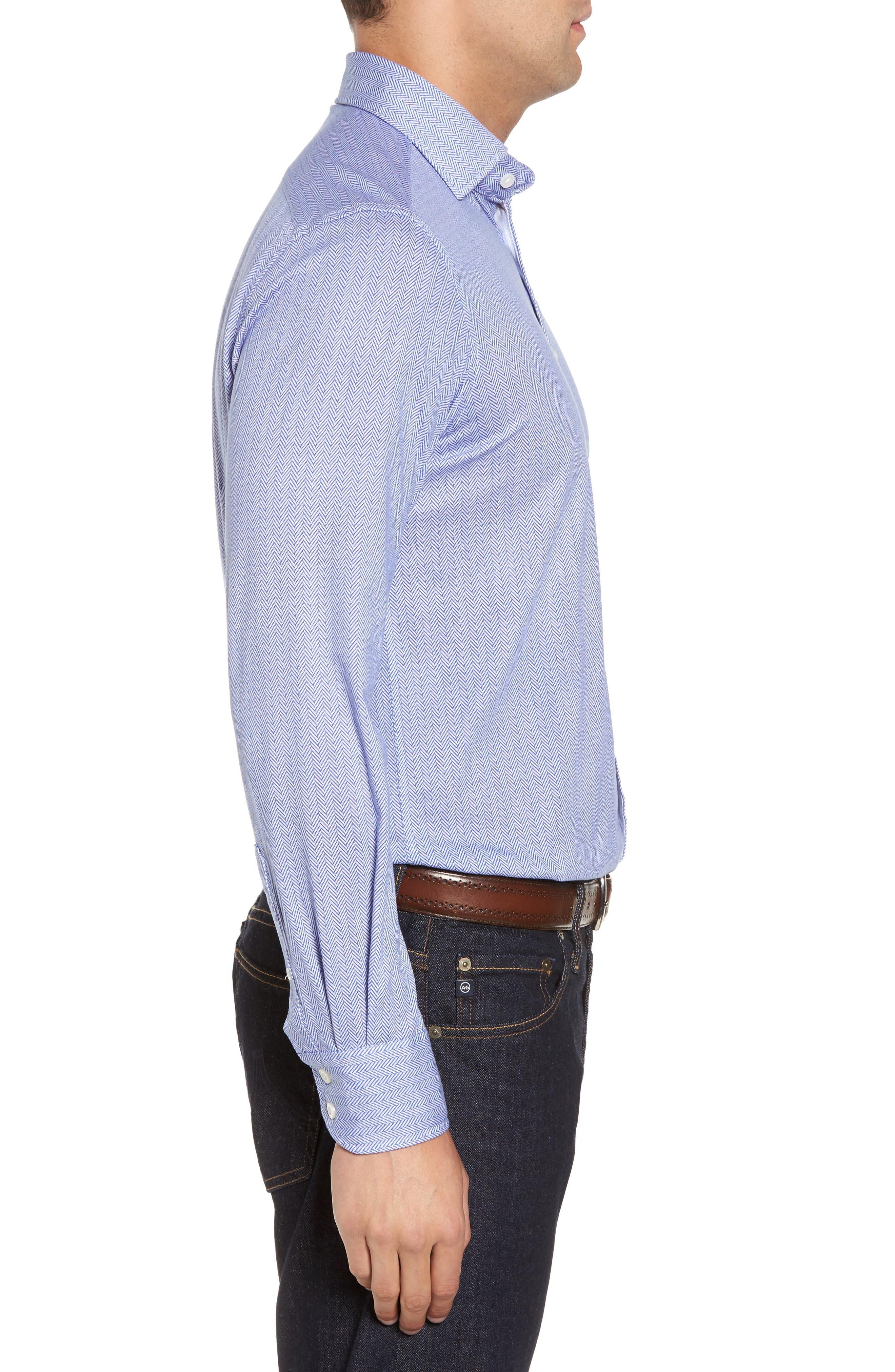 Herringbone Knit Sport Shirt,                             Alternate thumbnail 3, color,                             400