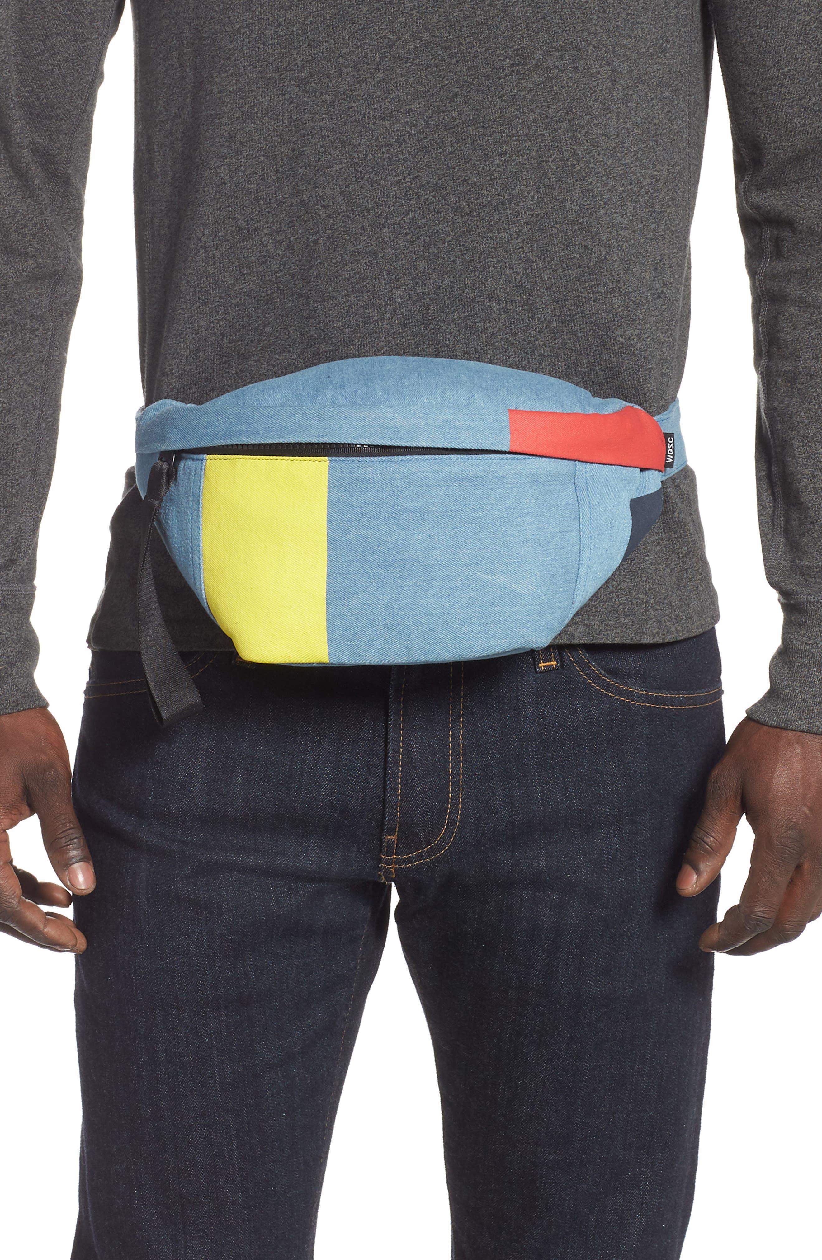 WESC,                             Usher Colorblock Denim Belt Bag,                             Alternate thumbnail 2, color,                             CERULEAN BLUE