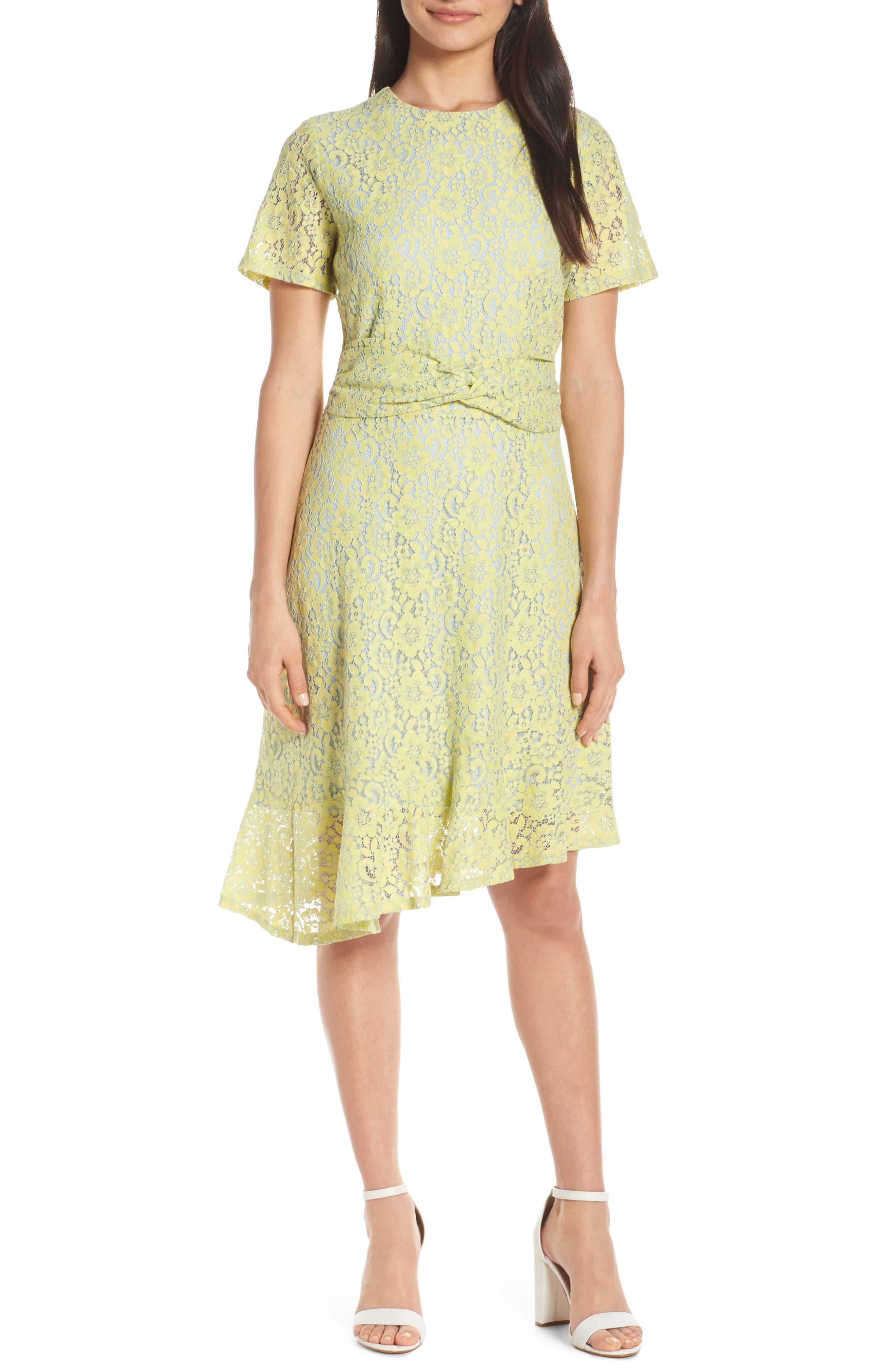 Chelsea28 Twist Waist Asymmetrical Lace Dress, Yellow