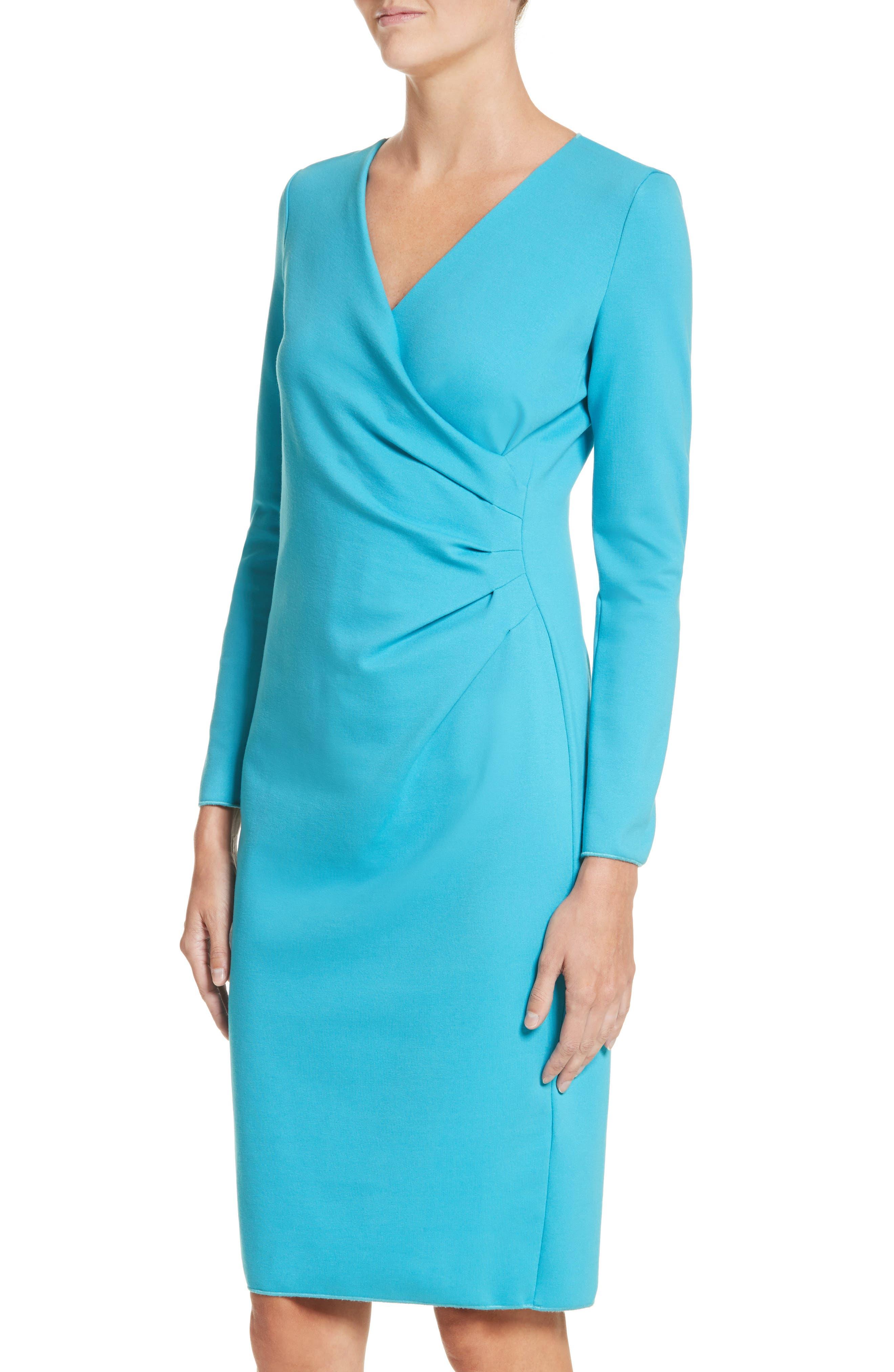 Faux Wrap Side Pleat Dress,                             Alternate thumbnail 4, color,                             444