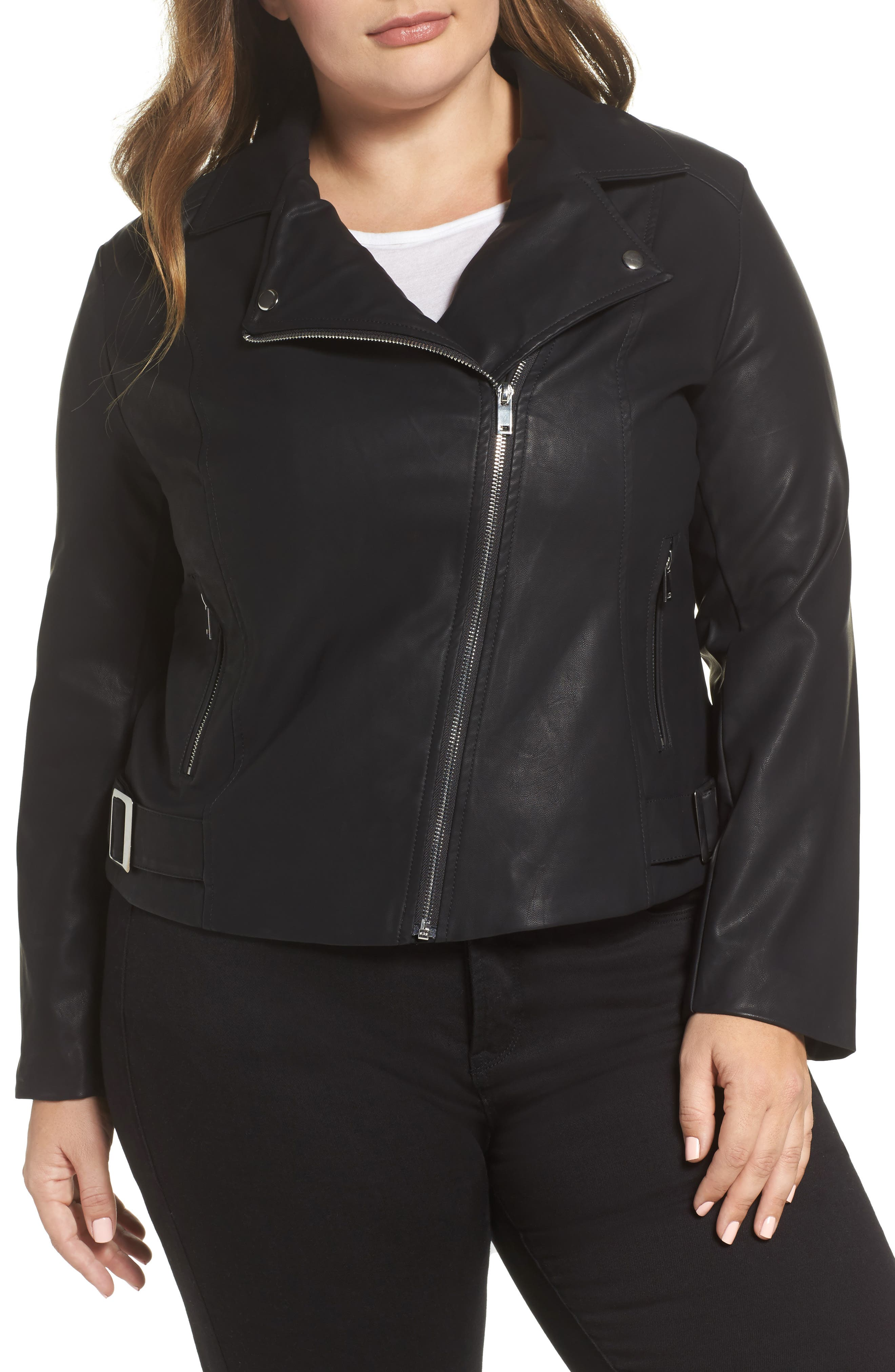 Faux Leather Moto Jacket,                             Alternate thumbnail 4, color,                             001