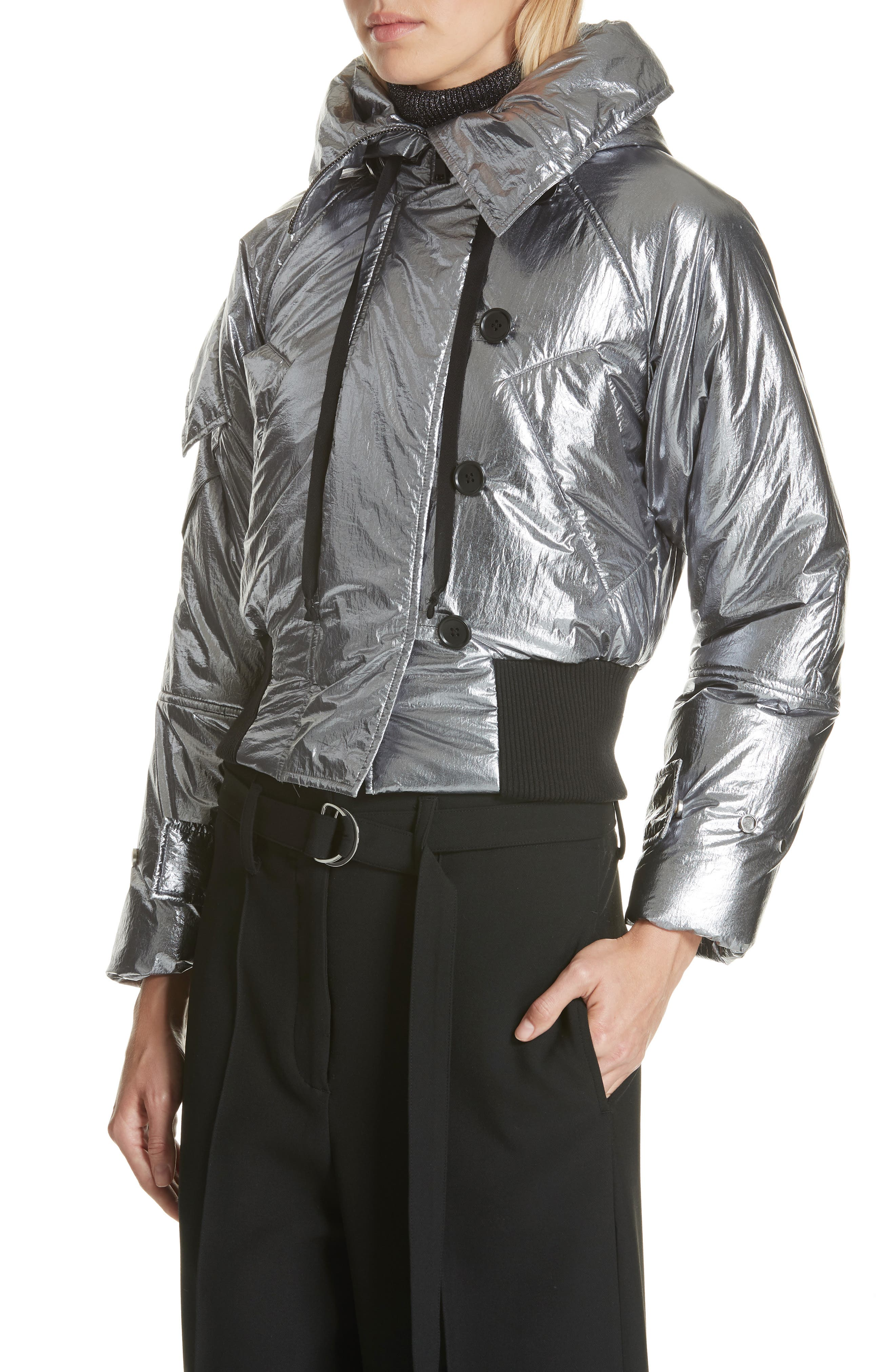 Metallic Crop Puffer Jacket,                             Alternate thumbnail 4, color,                             040