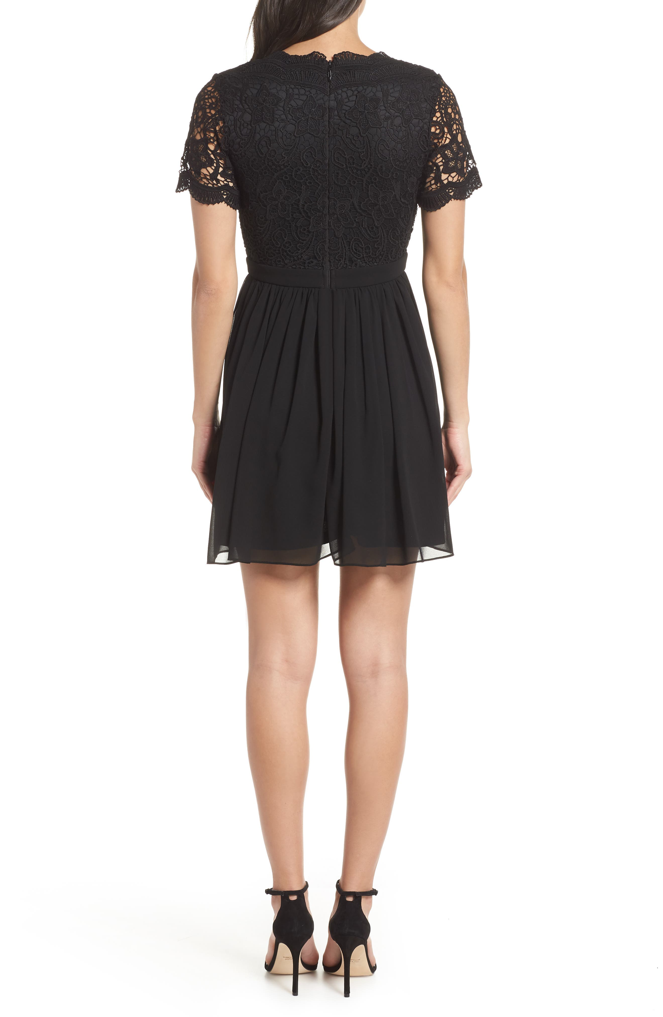 Angel in Disguise Lace & Chiffon Party Dress,                             Alternate thumbnail 2, color,                             BLACK