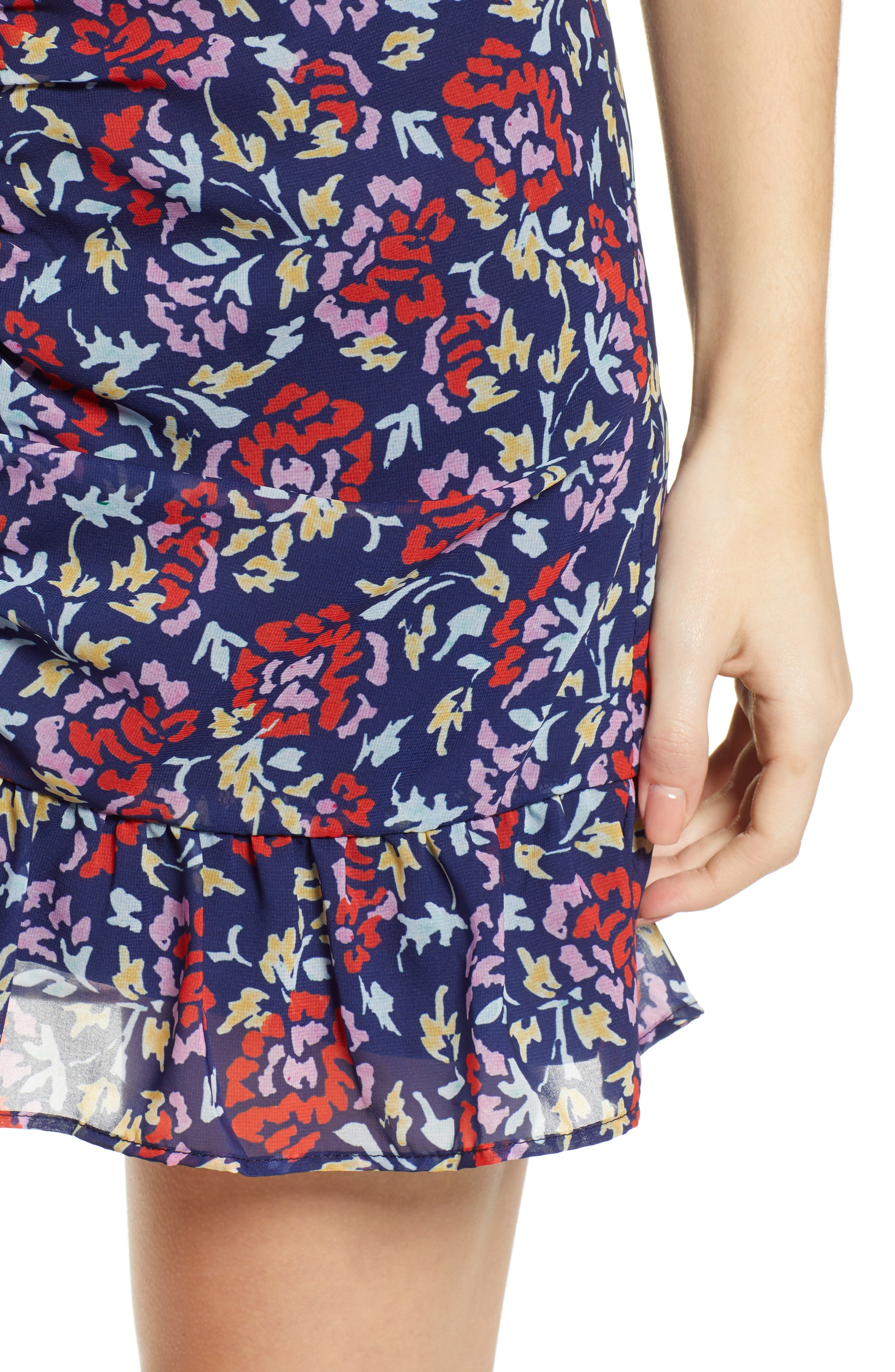 THE FIFTH LABEL,                             Ruched Floral Print Miniskirt,                             Alternate thumbnail 4, color,                             NAVY/ SCARLET WATERCOLOR