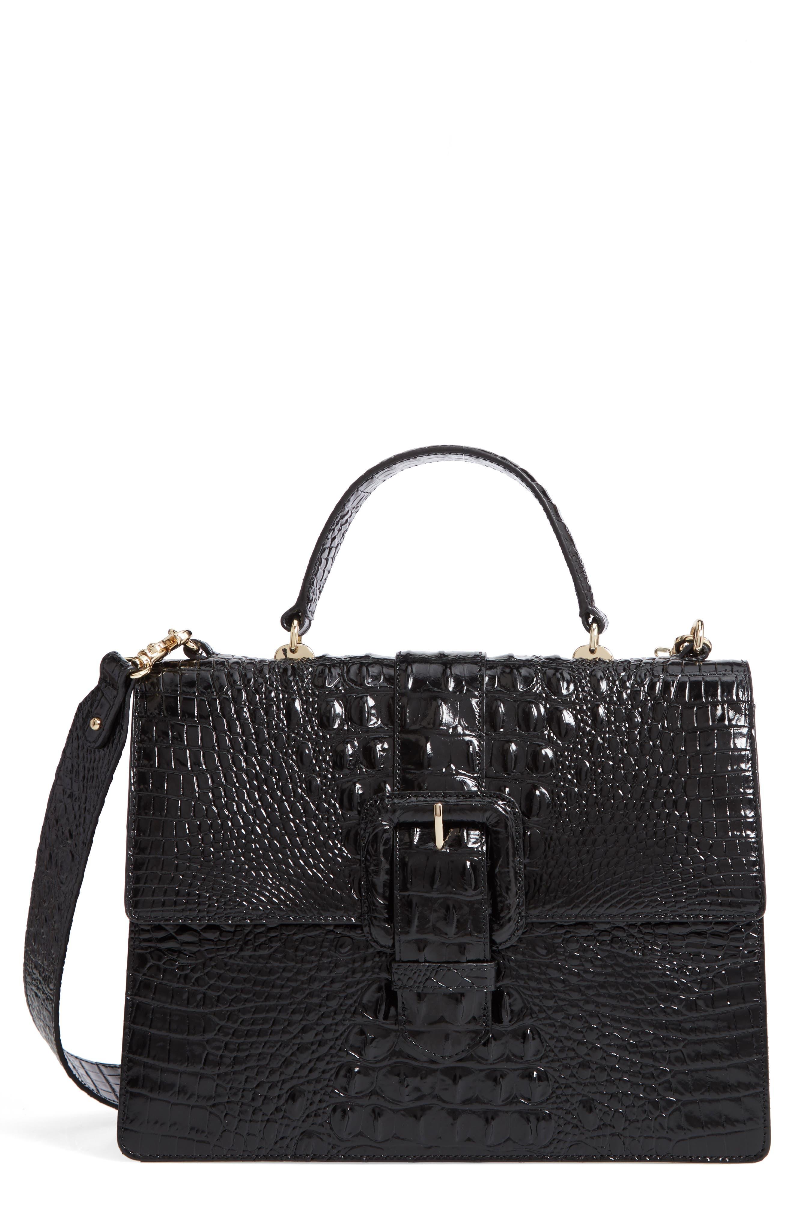 Medium Francine Croc Embossed Leather Satchel,                         Main,                         color, BLACK