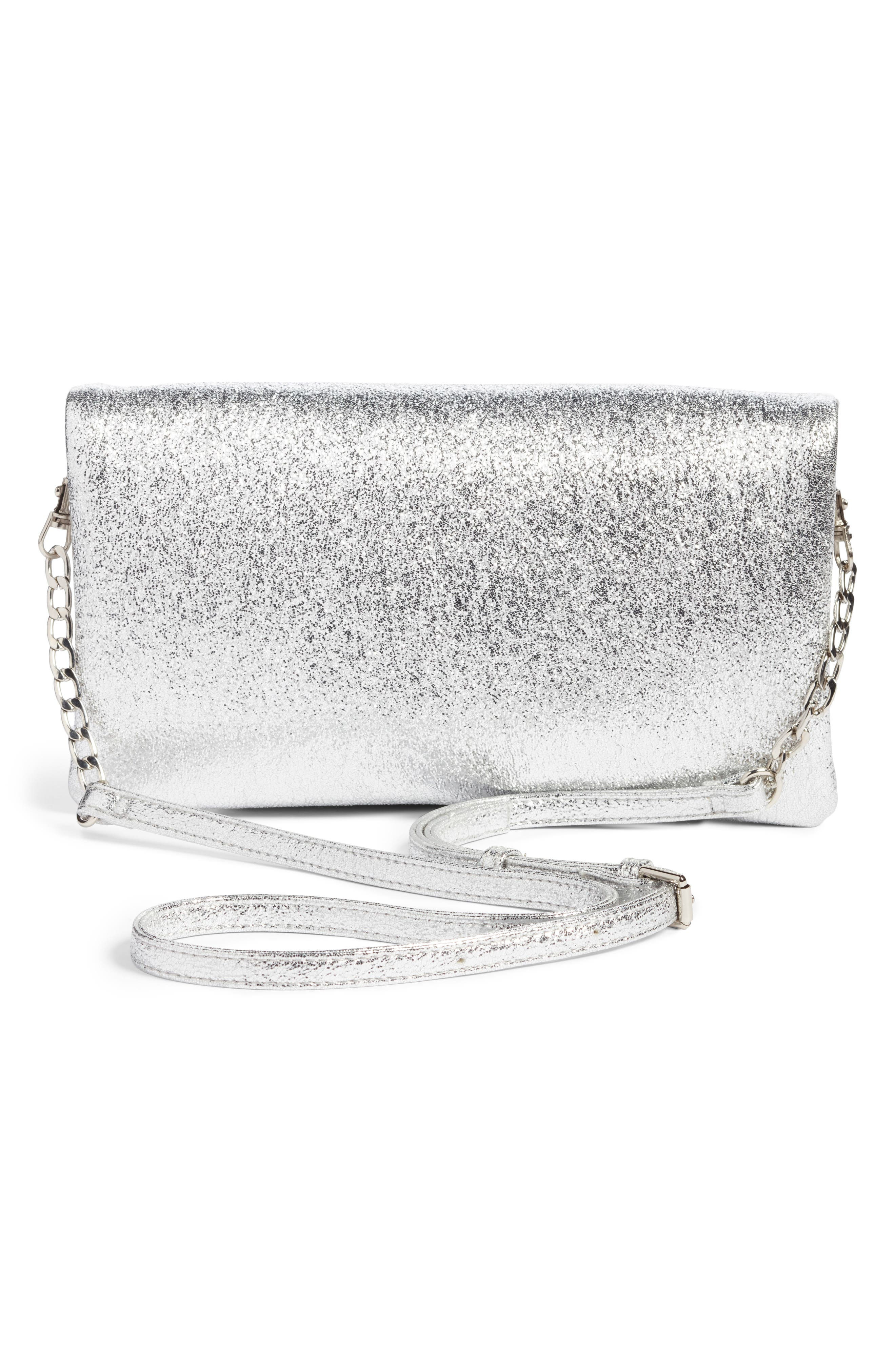 Maci Crinkle Faux Leather Foldover Clutch,                             Alternate thumbnail 3, color,                             040
