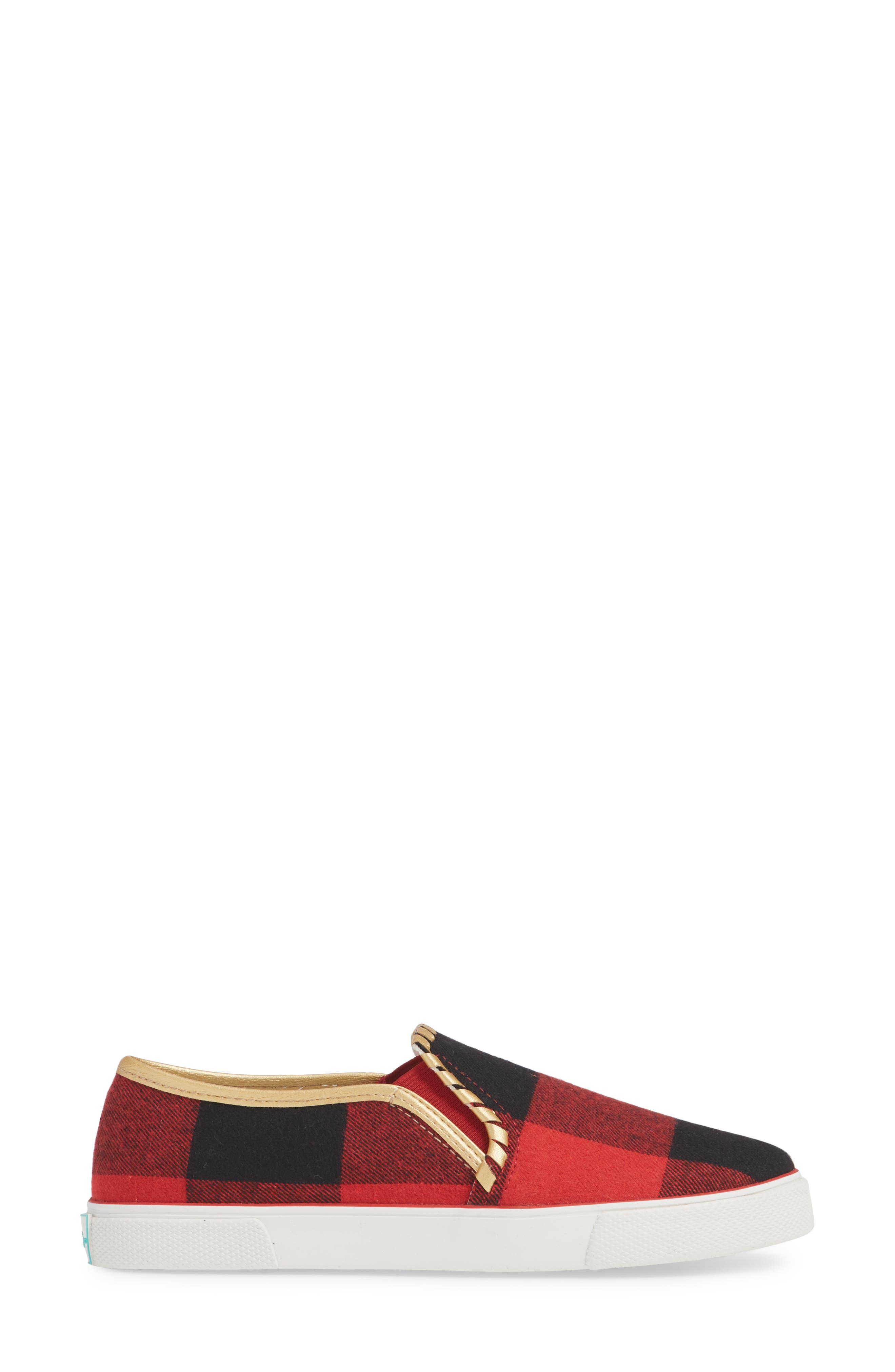 Brynne Slip-On Sneaker,                             Alternate thumbnail 3, color,                             RED/ BLACK FABRIC