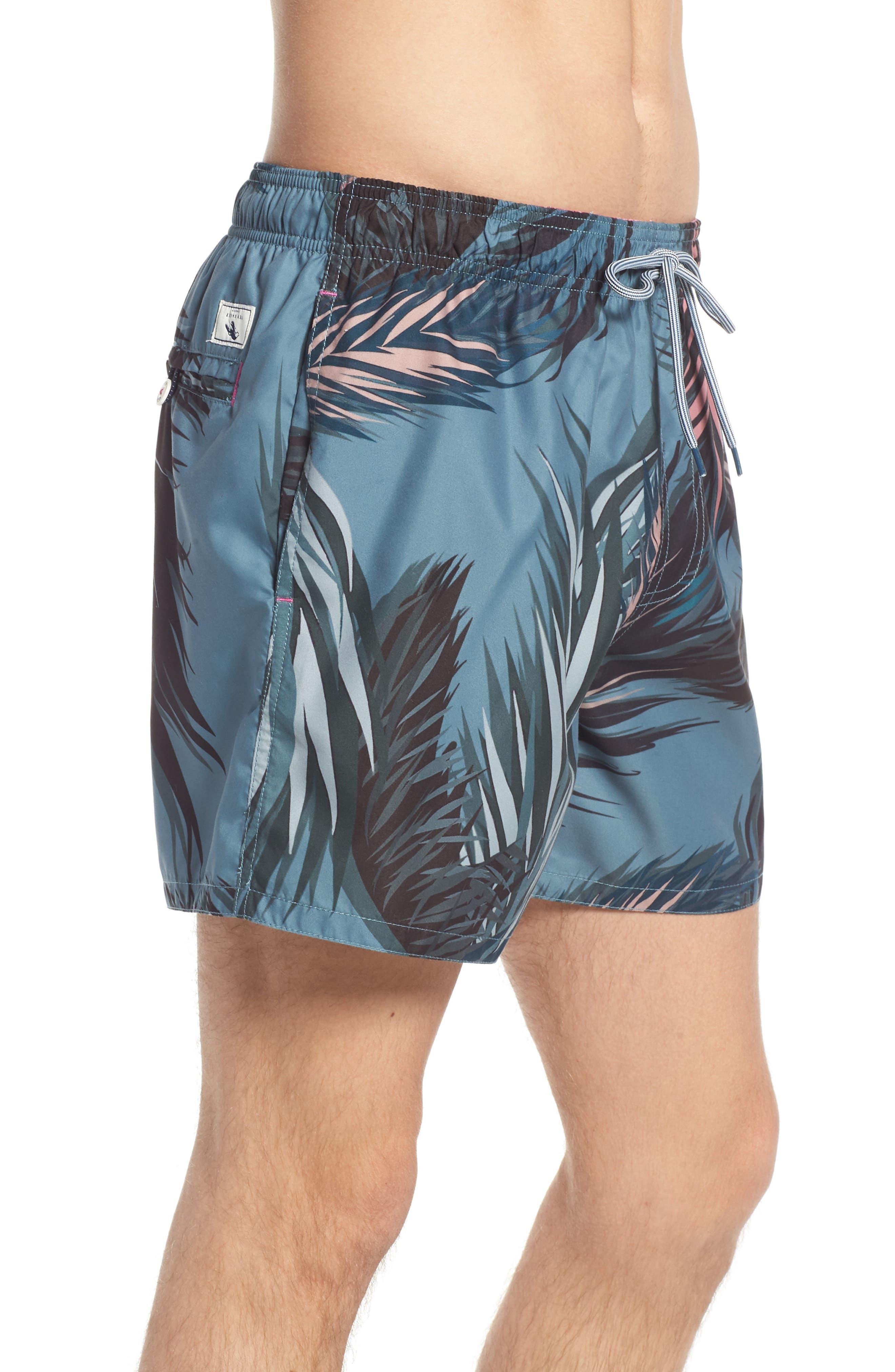 Raynebo Slim Fit Palm Leaf Swim Trunks,                             Alternate thumbnail 3, color,                             301