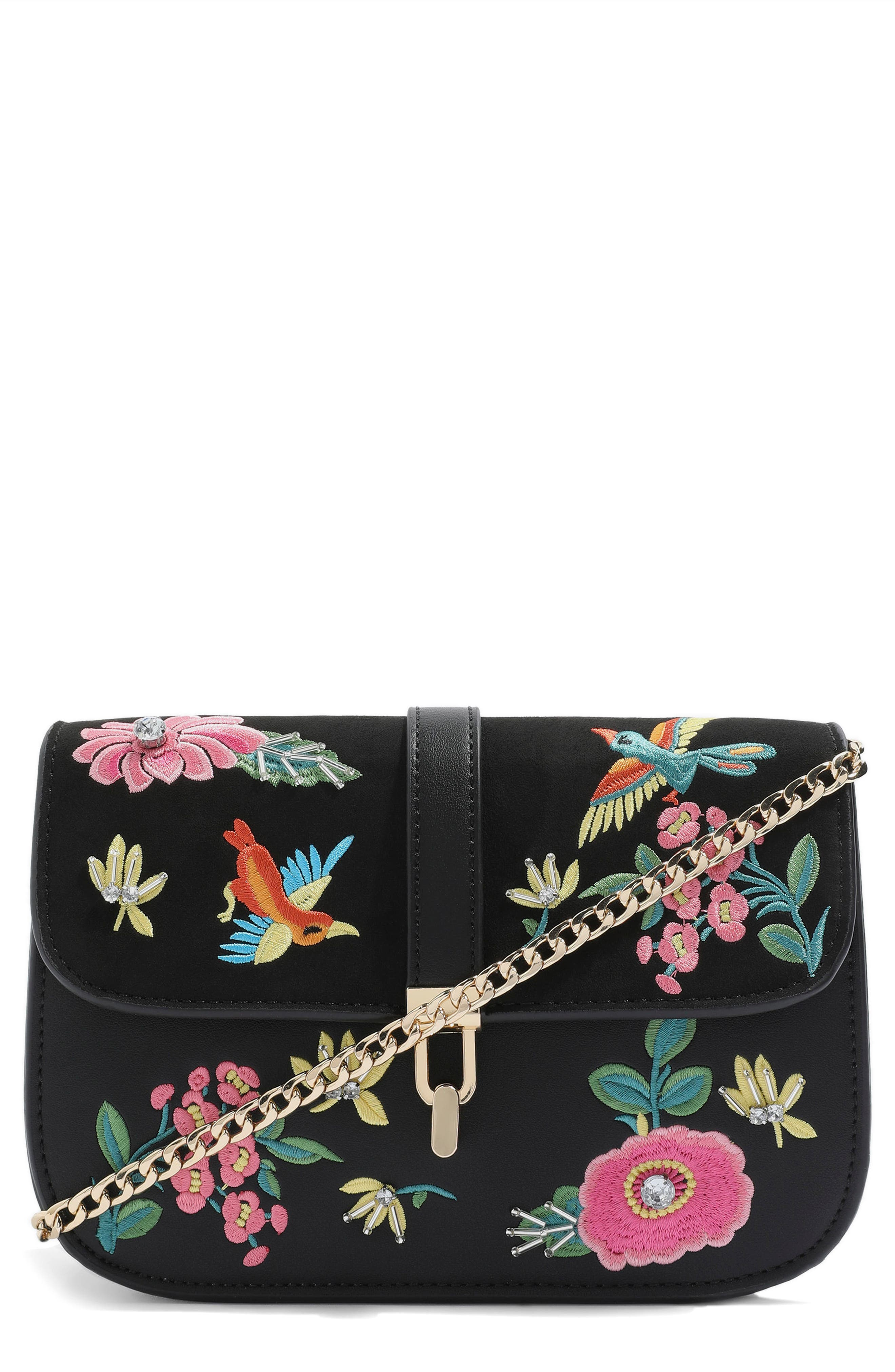 Hummingbird Embroidered Crossbody Bag,                             Main thumbnail 1, color,                             001