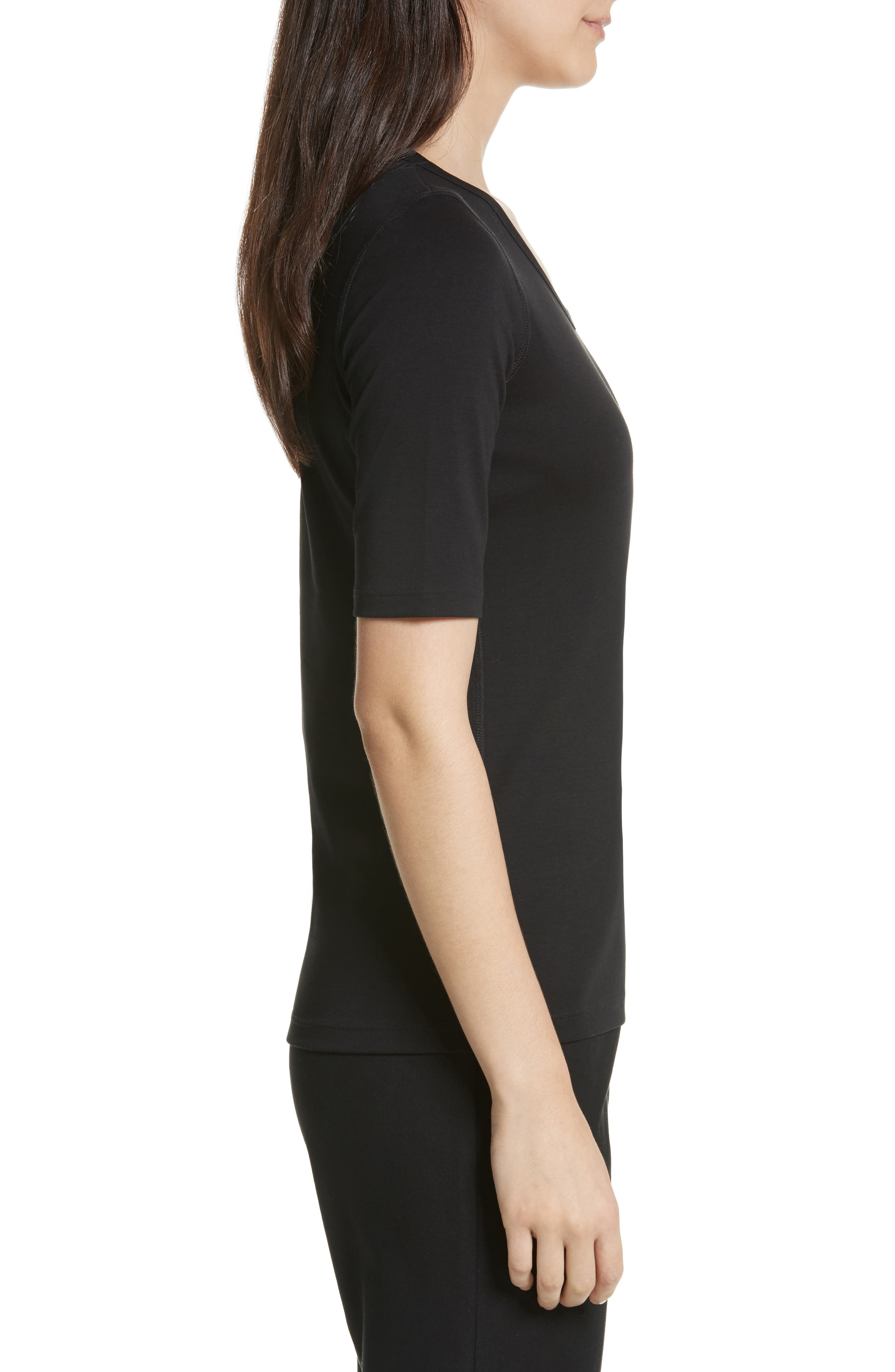 Pima Cotton Top,                             Alternate thumbnail 3, color,                             BLACK